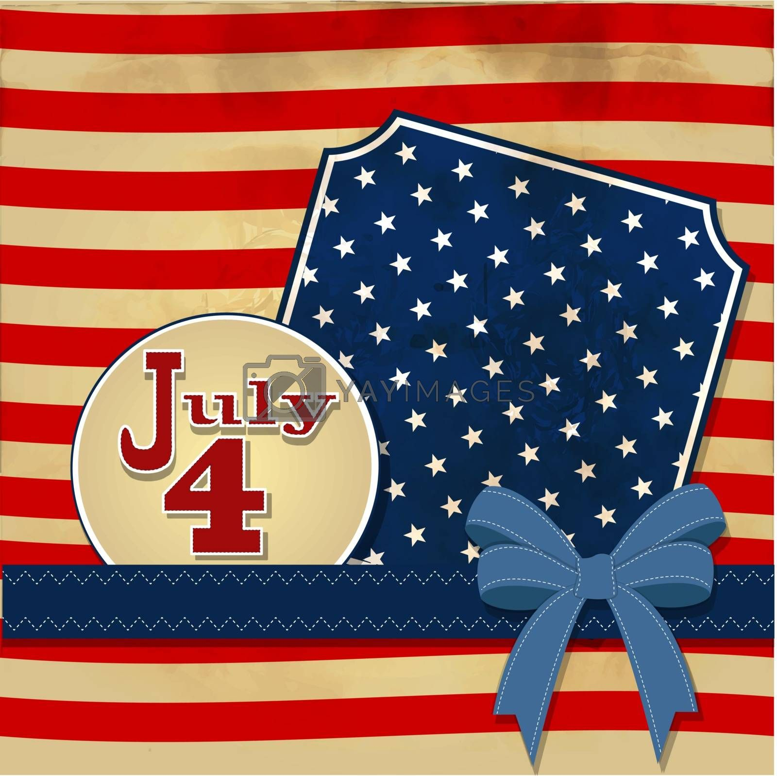 American flag background with stars symbolizing 4th july independence day, illustration in vector format