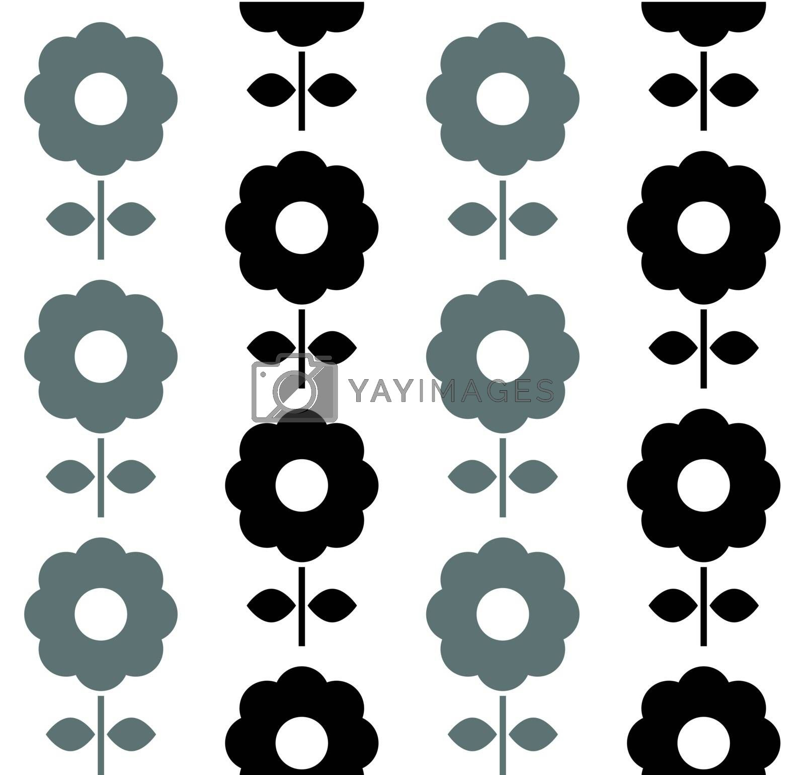 Floral seamless pattern with dark flowers. Vector