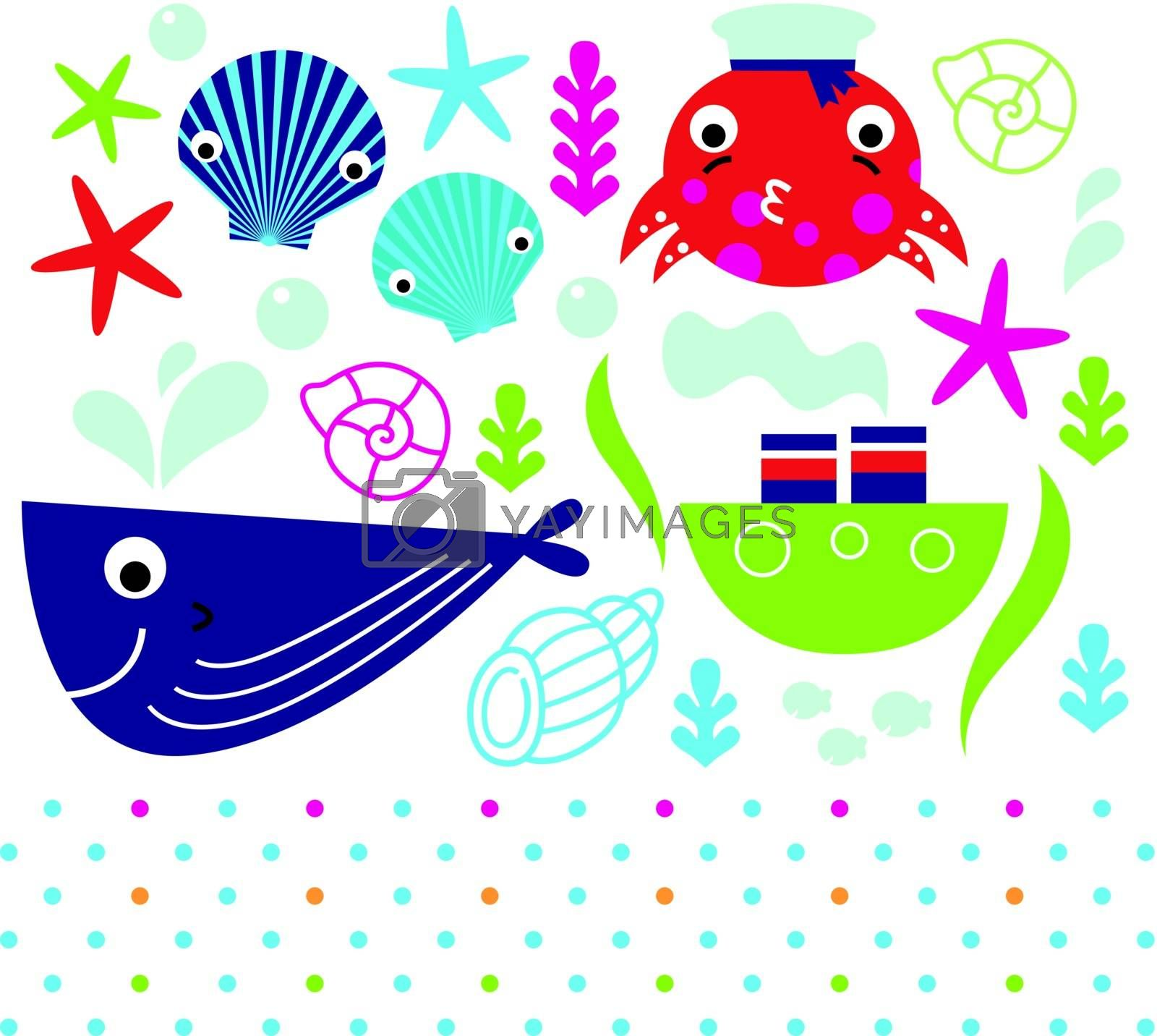 Sea animals and design elements mix. Vector Illustration