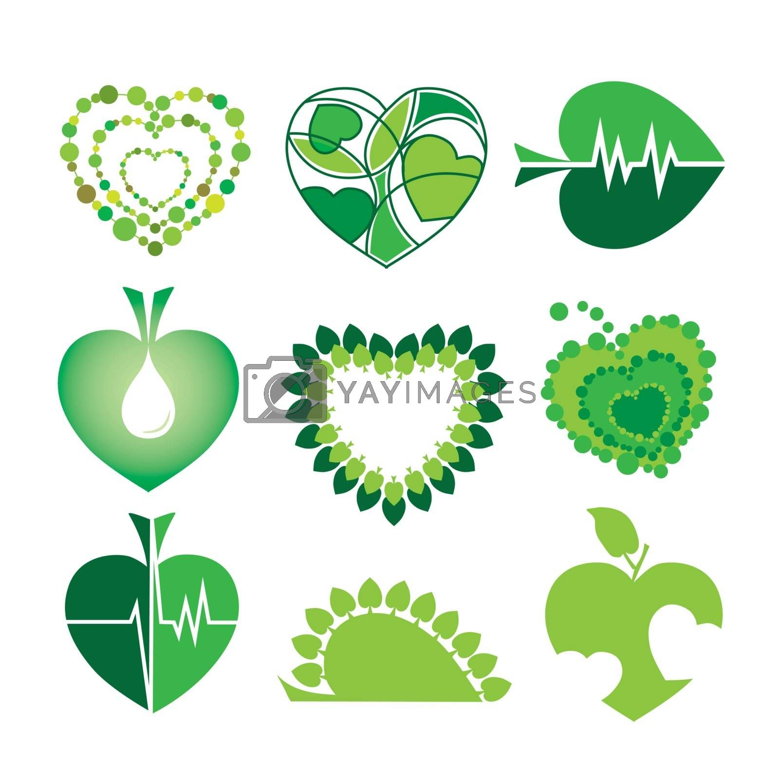 collection of vector logos health and the environment in the form of hearts and leaves