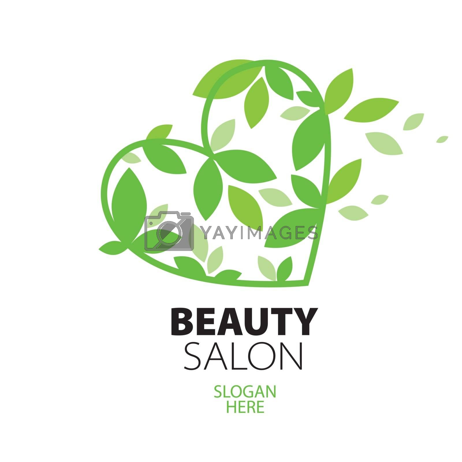 logo heart of green leaves to the beauty salon