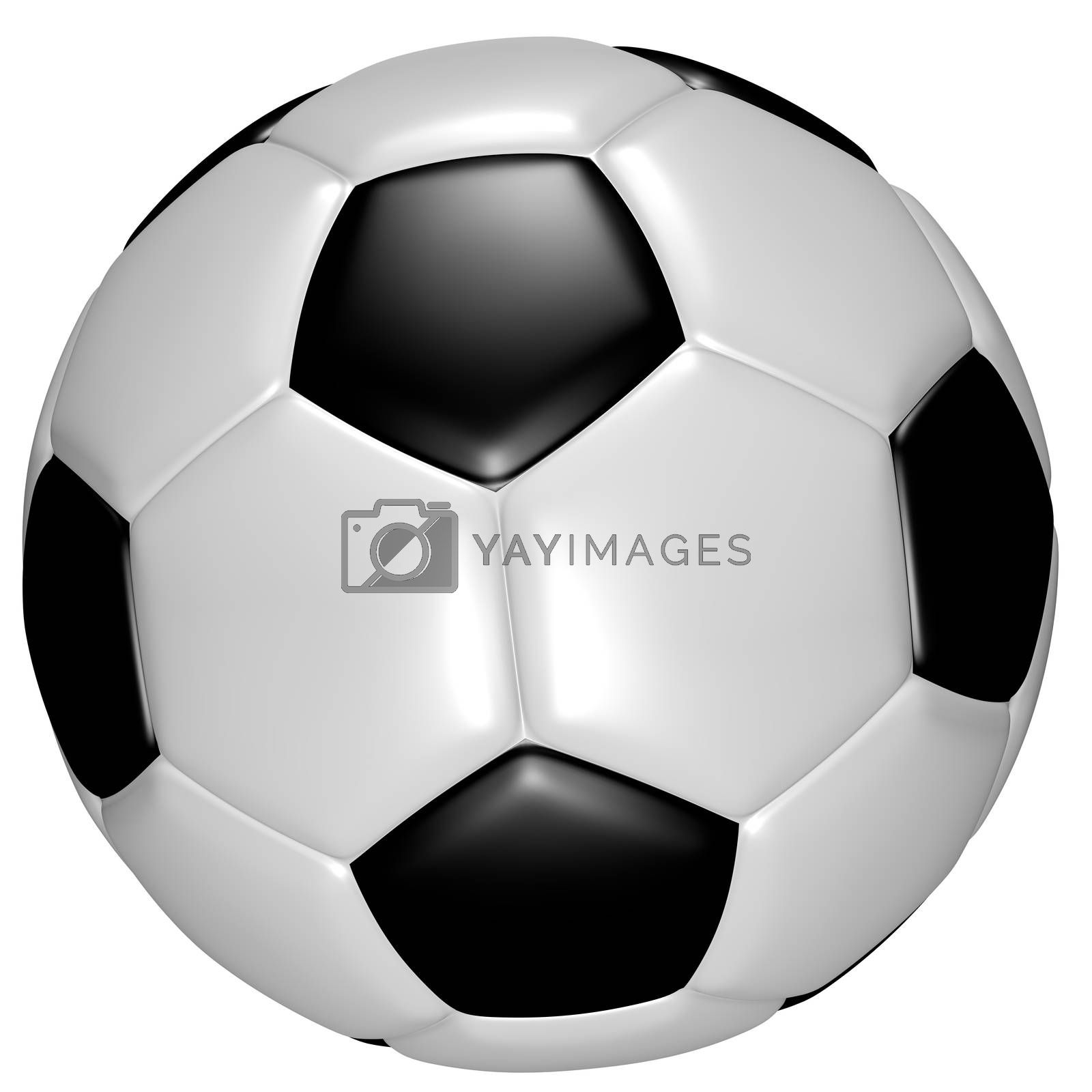 A very high resolution (100 megapixels) CGI image of a soccer ball on a white background.