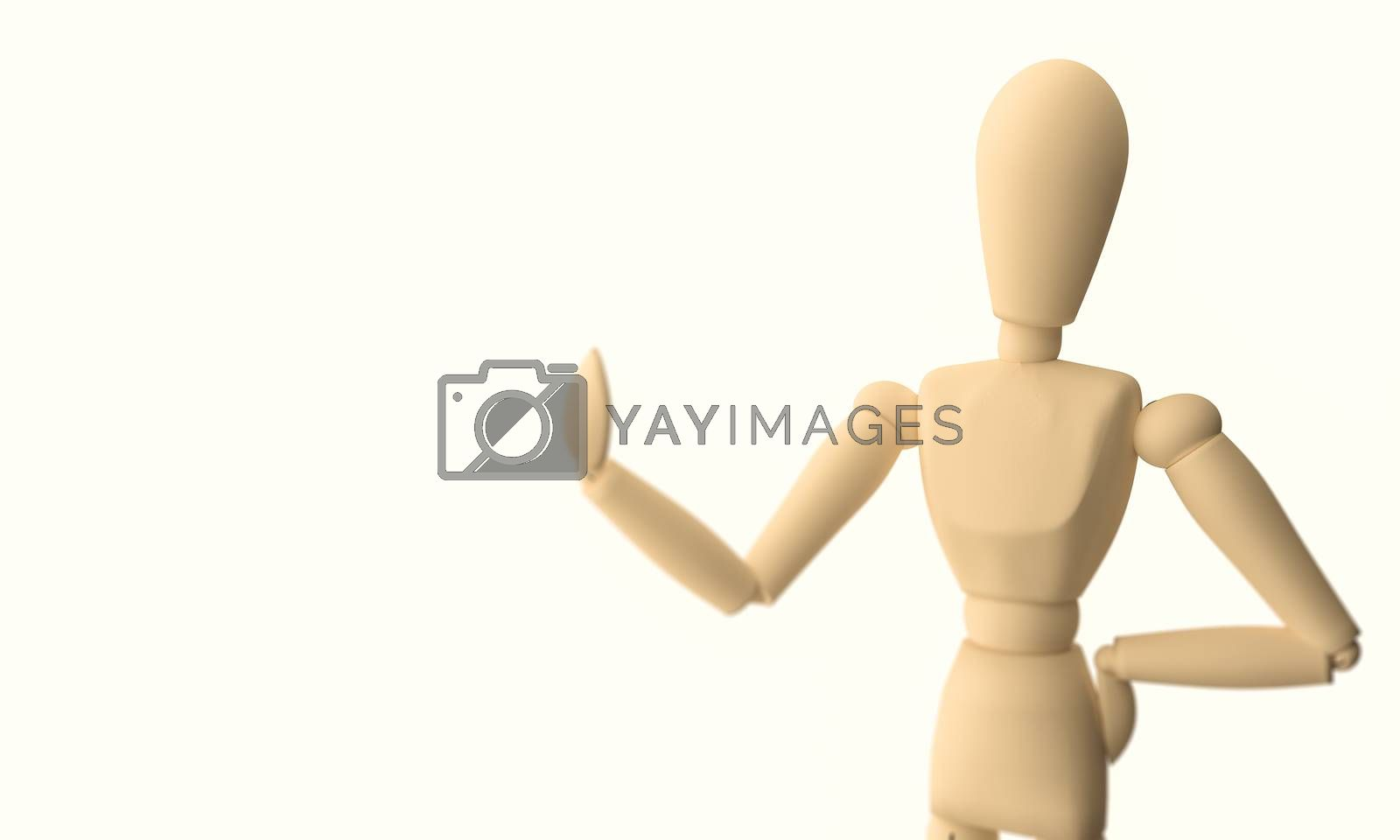 A CGI image of a wooden mannequin posing on a white background.