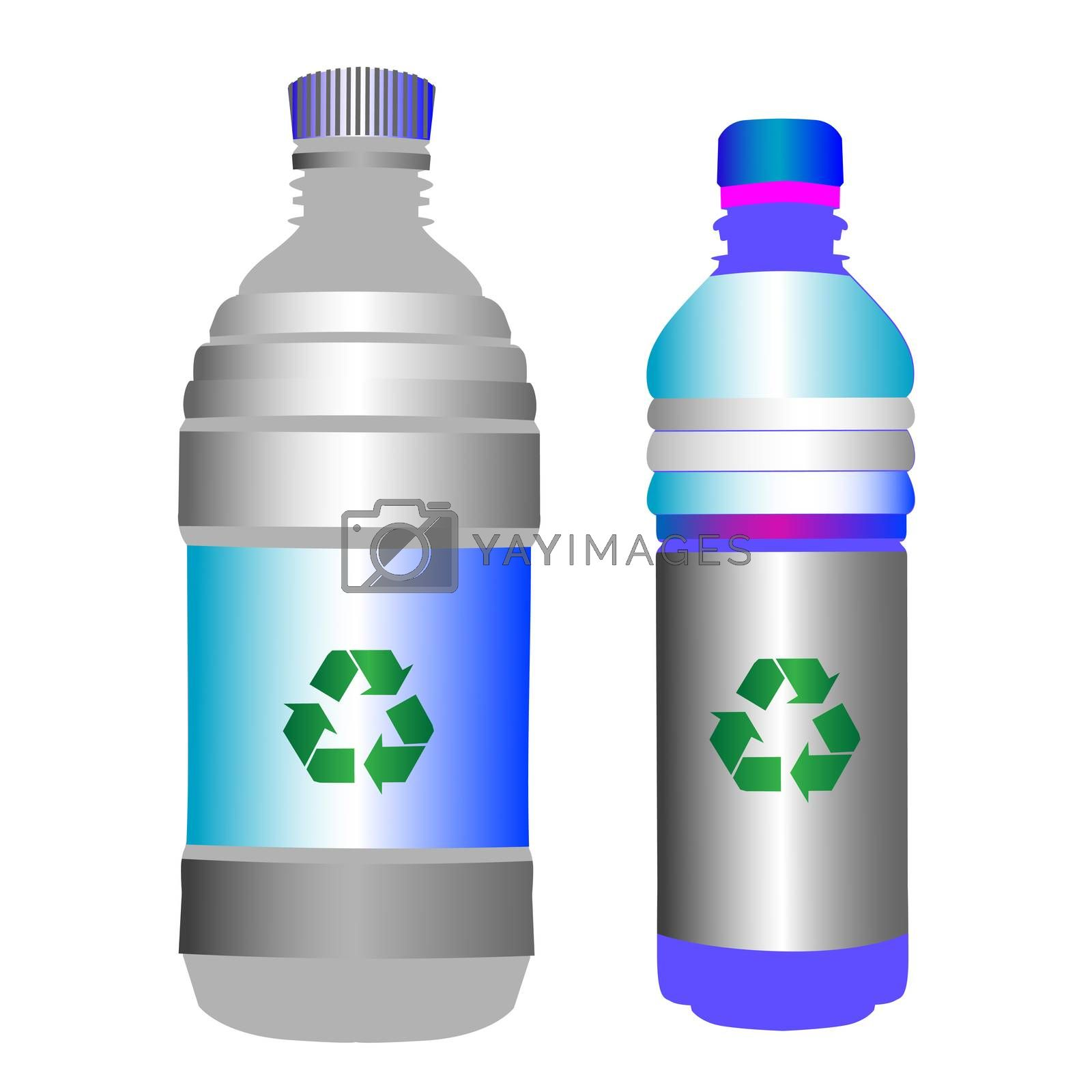 Two glossy plastic bottles with the green recycling sign over blank labels, objects isolated on white