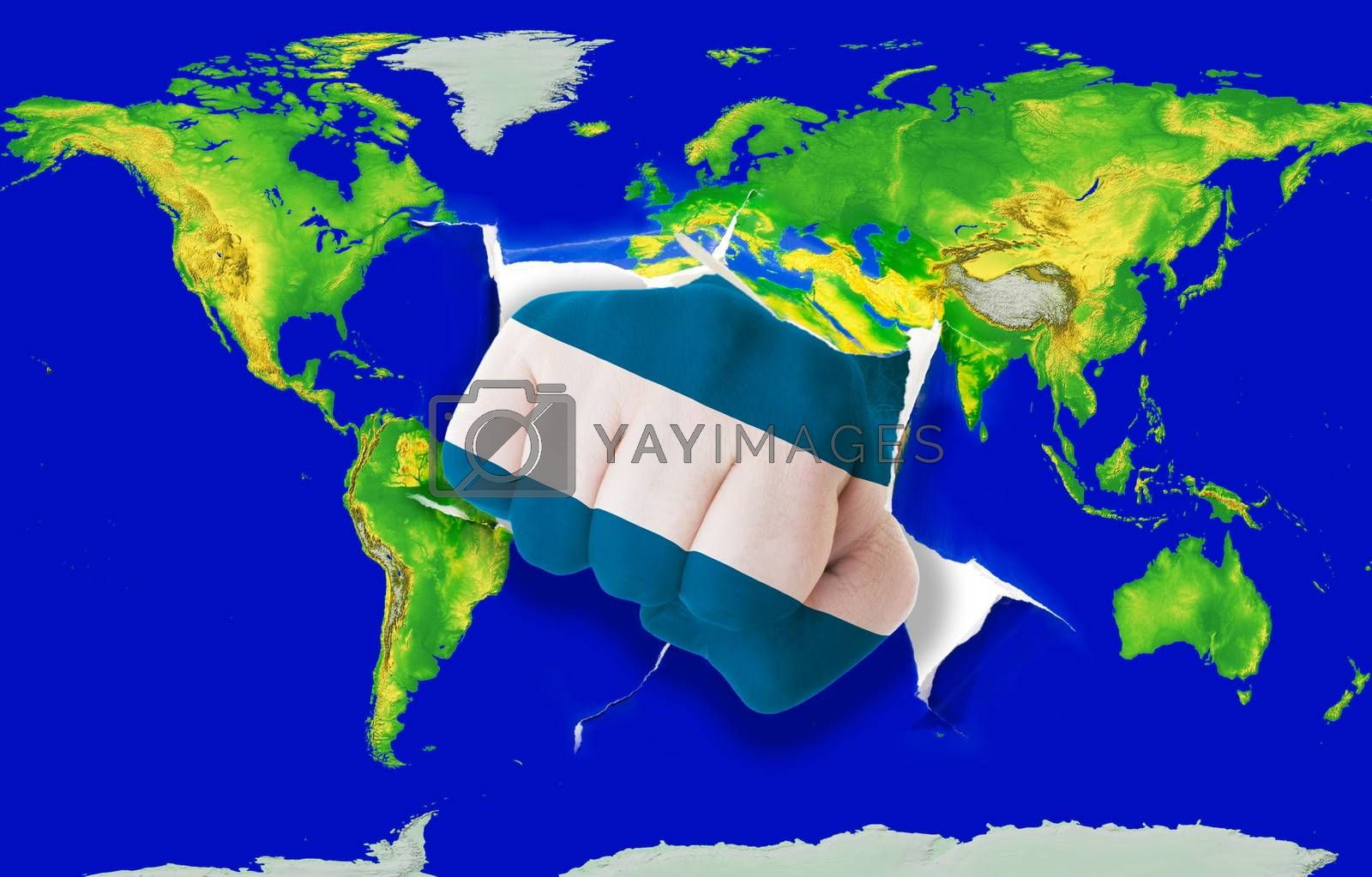 Fist in color national flag of el salvador punching world map as symbol of export, economic growth, power and success