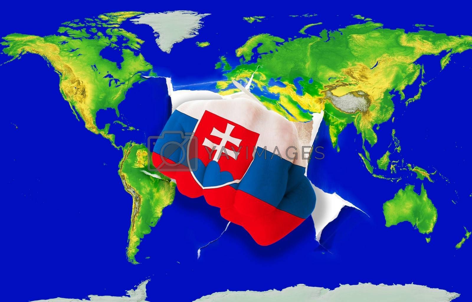Fist in color national flag of slovakia punching world map as symbol of export, economic growth, power and success