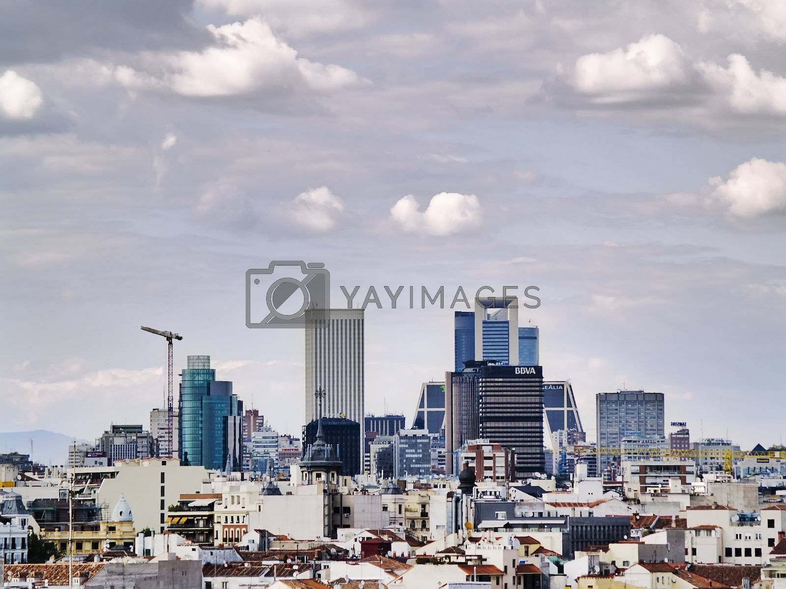 MADRID, SPAIN - MAY 20: Financial sector on 20, 2011 in Madrid, Spain. In 1954 the architect Antonio Perpina organized a financial sector based on the Rockefeller Centre of NYC, now the office skycrapers have expanded at the north of Madrid