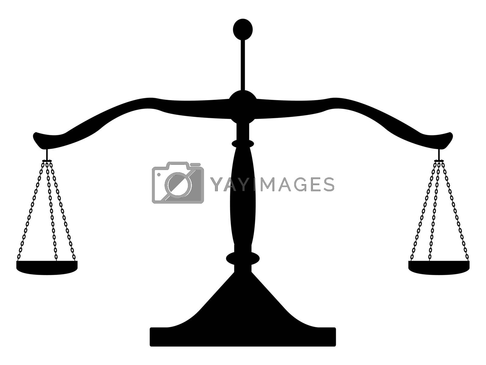 Silhouette of a set of balancing scales.