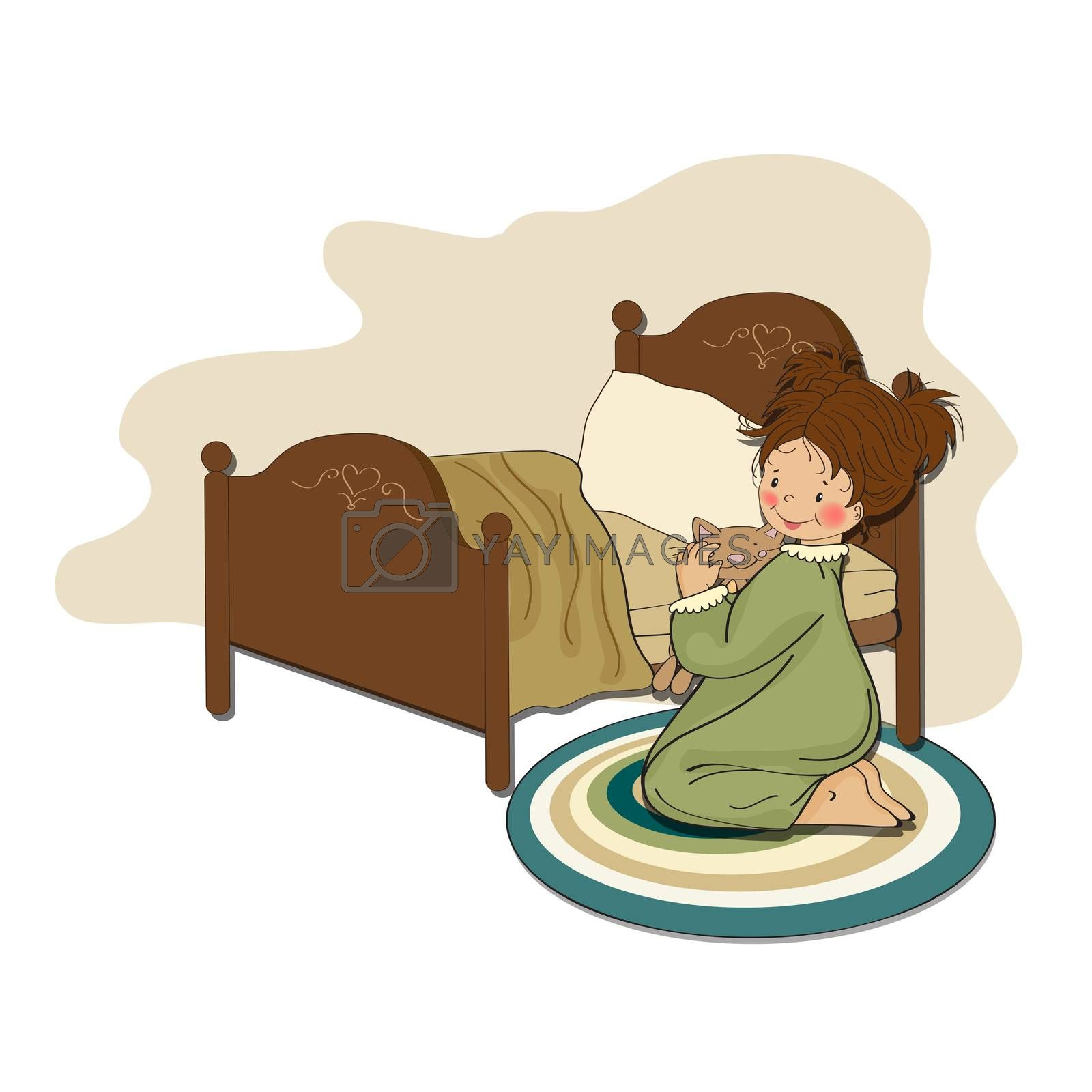 little girl is preparing for sleep, illustration in vector format