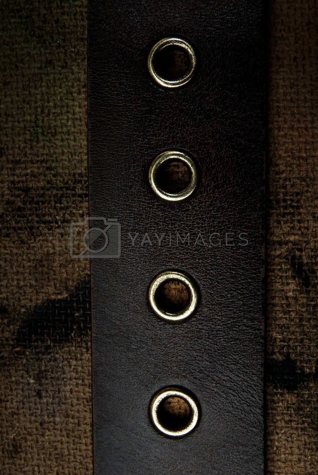 Close-up photo of the leather belt on a dirty background