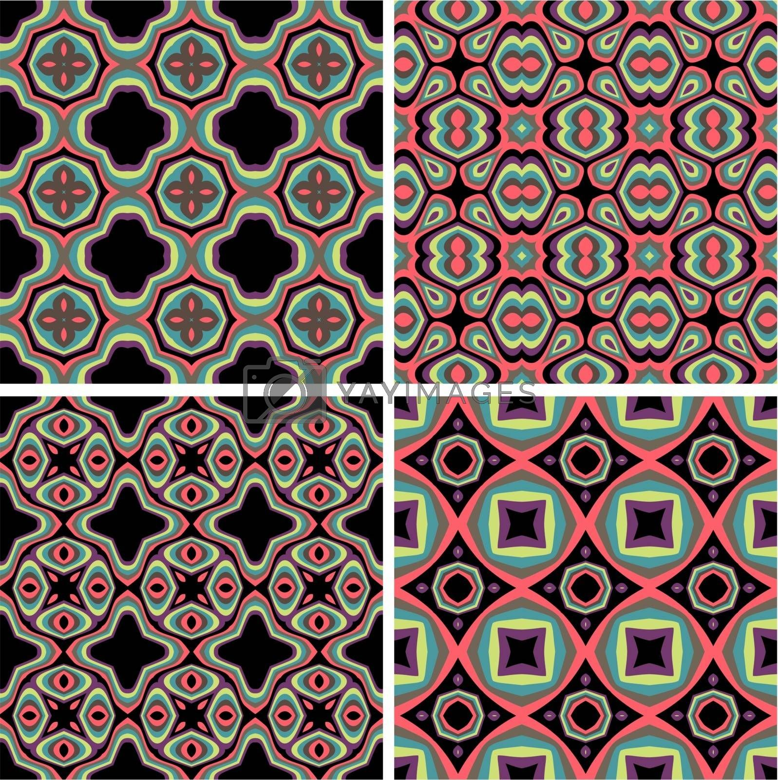 Set of Seamless Colorful Retro Pattern Backgrounds by epic33