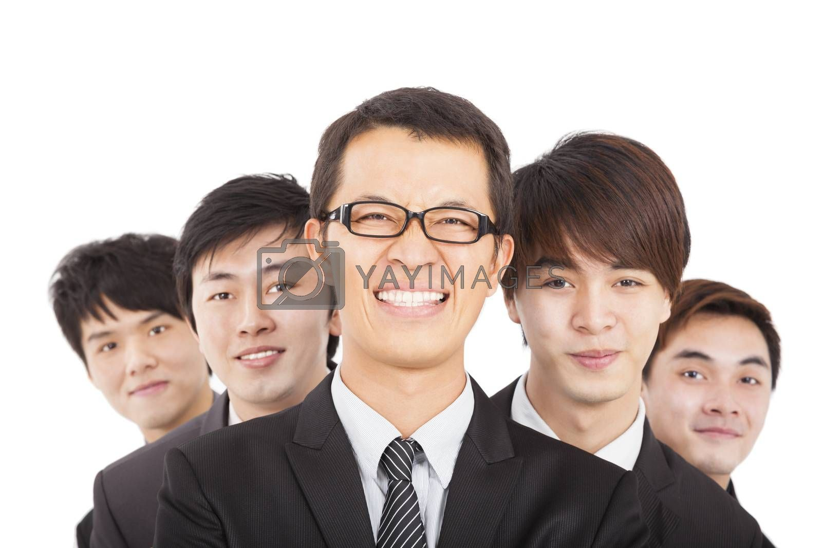happy businessman with business team
