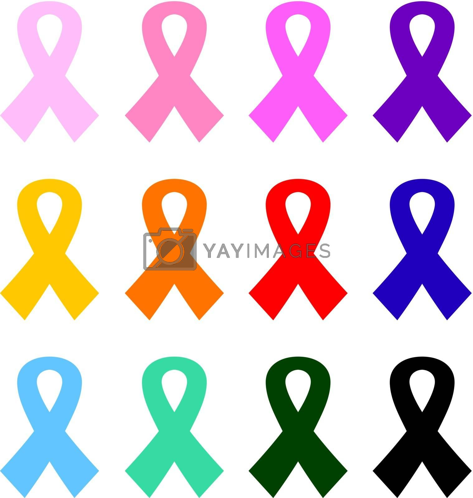 Health care breast cancer ribbons. Vector