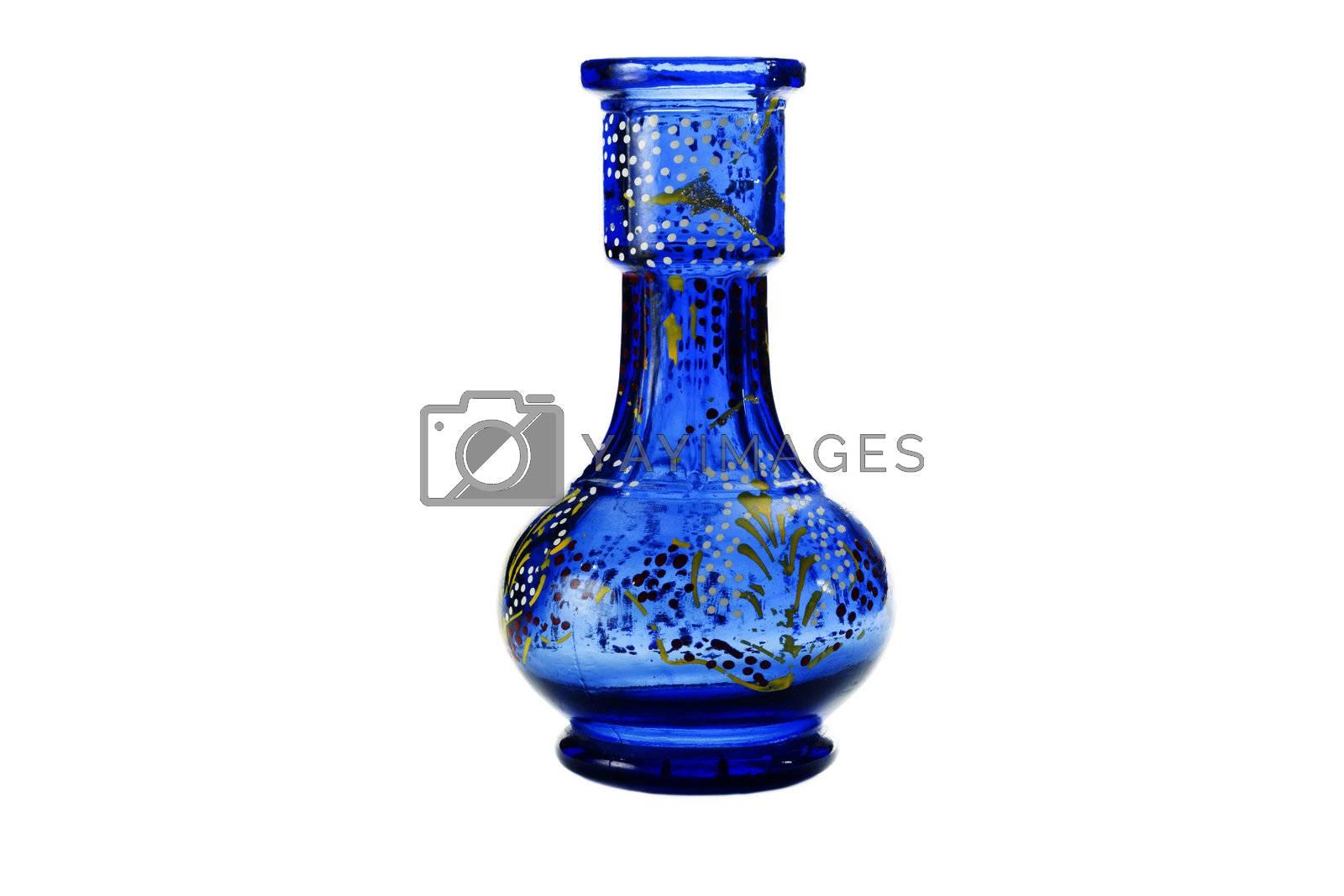 Isolated blue flower vase on a white background