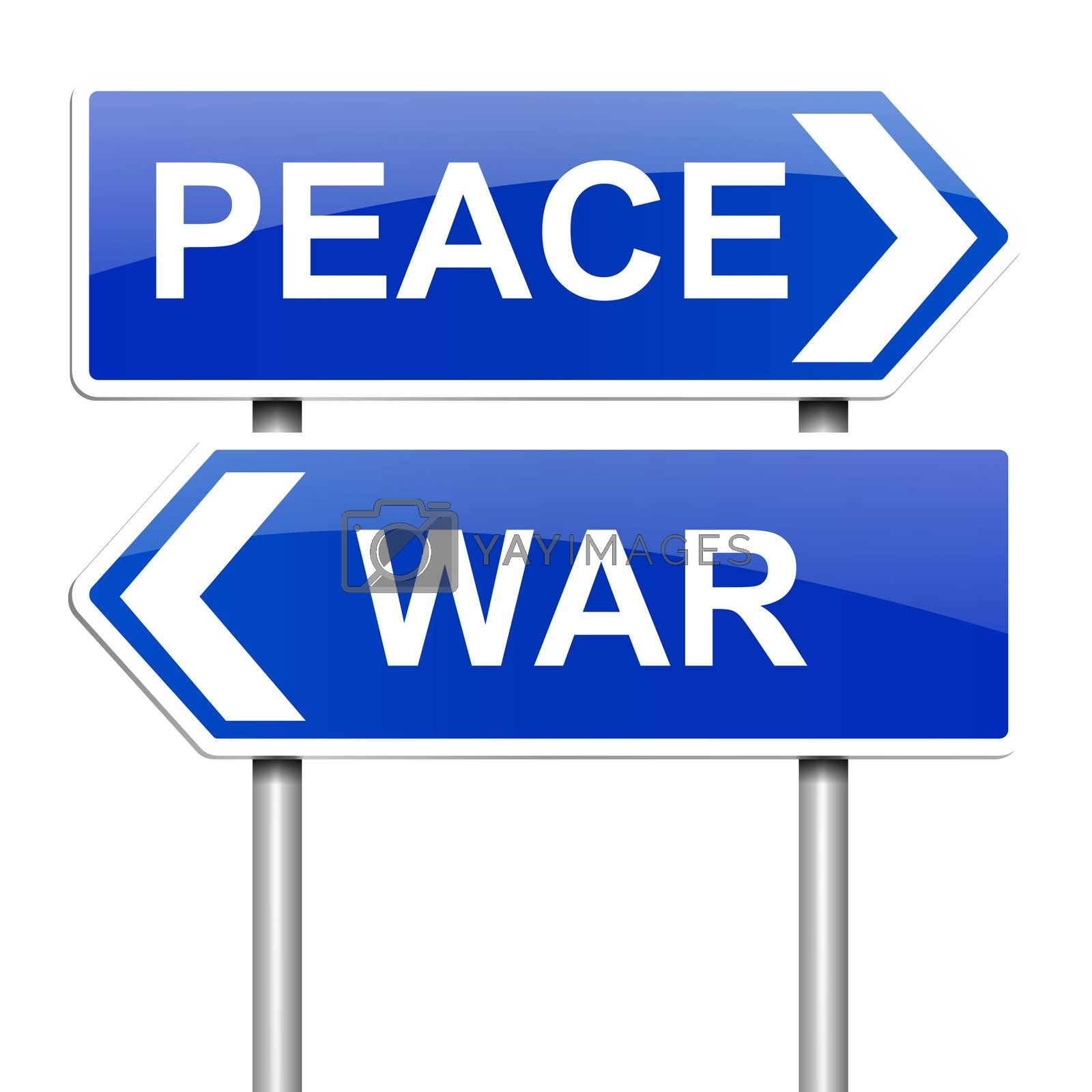 Illustration depicting a sign with a war or peace concept.