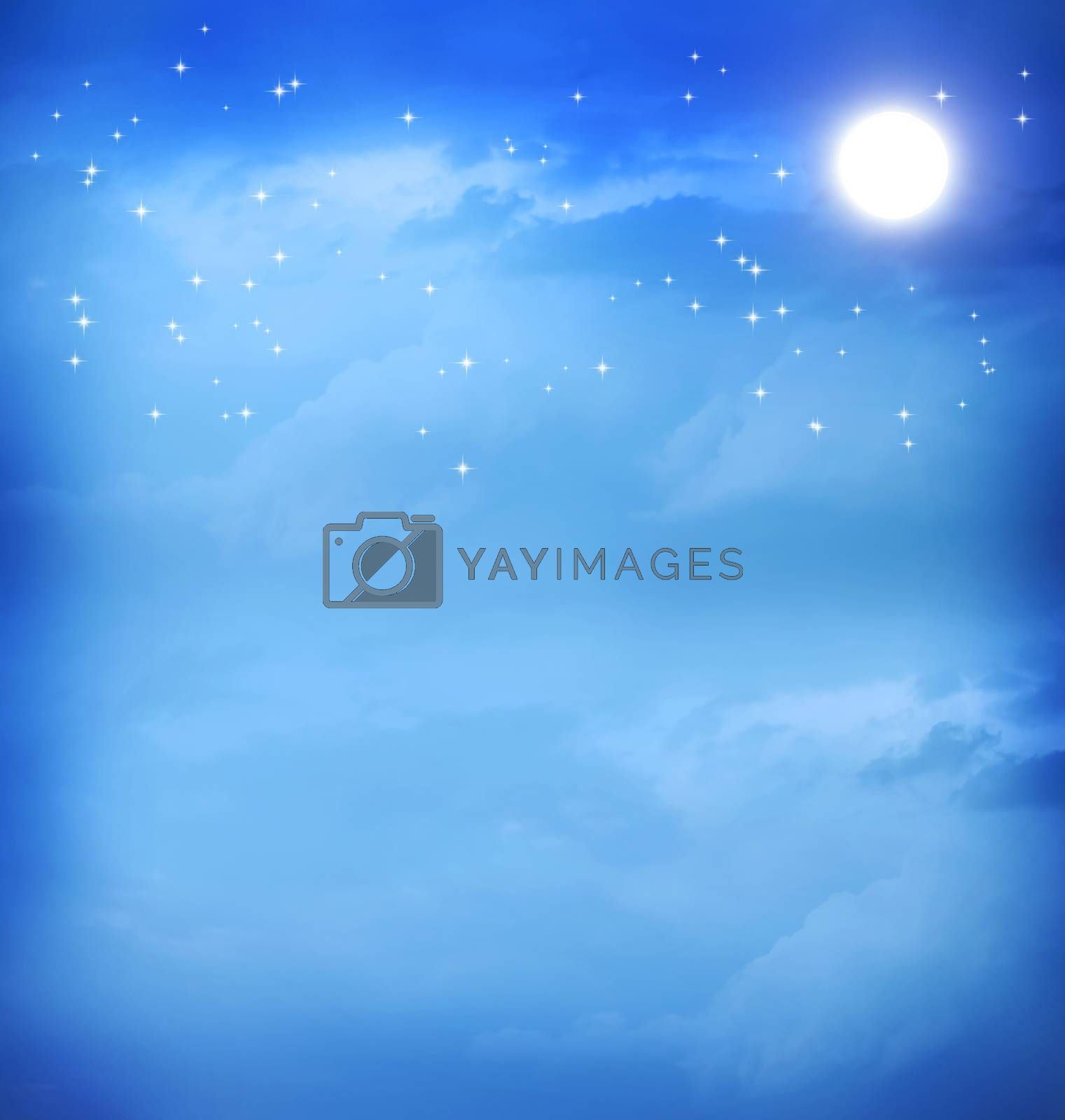Royalty free image of Moon in the blue night sky by melpomene
