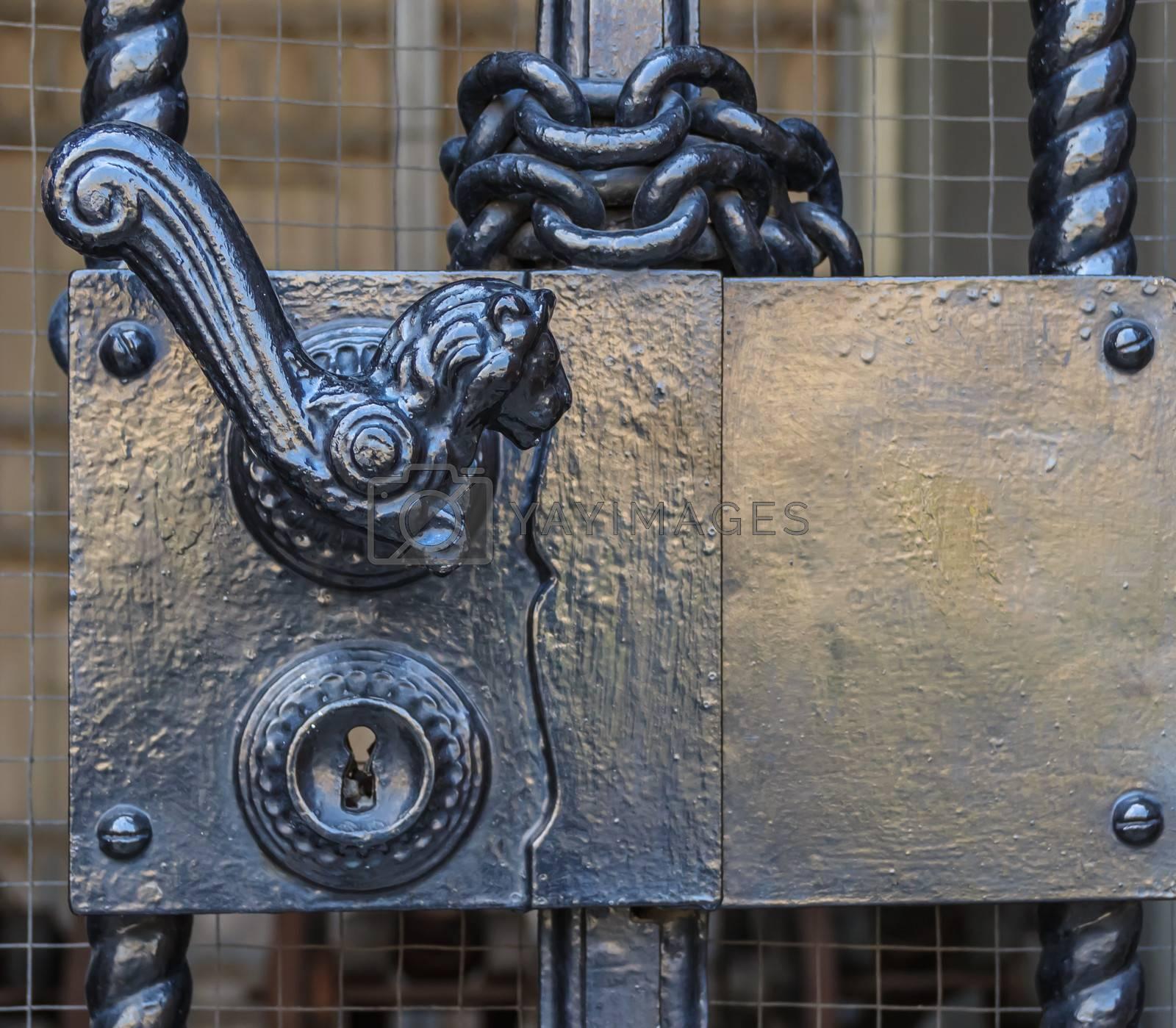 Royalty free image of Ancient Door Lock and Door Handle by punpleng