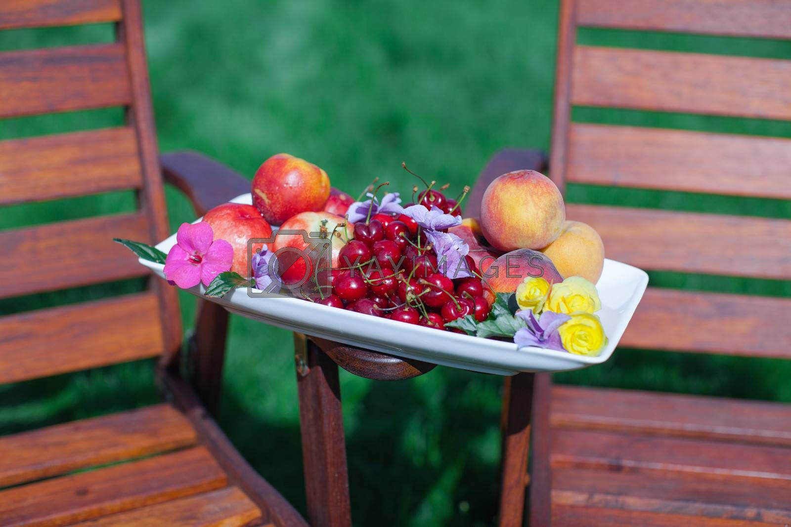 Royalty free image of Plate with fresh fruits and flowers on wooden chairs in the garden by travnikovstudio
