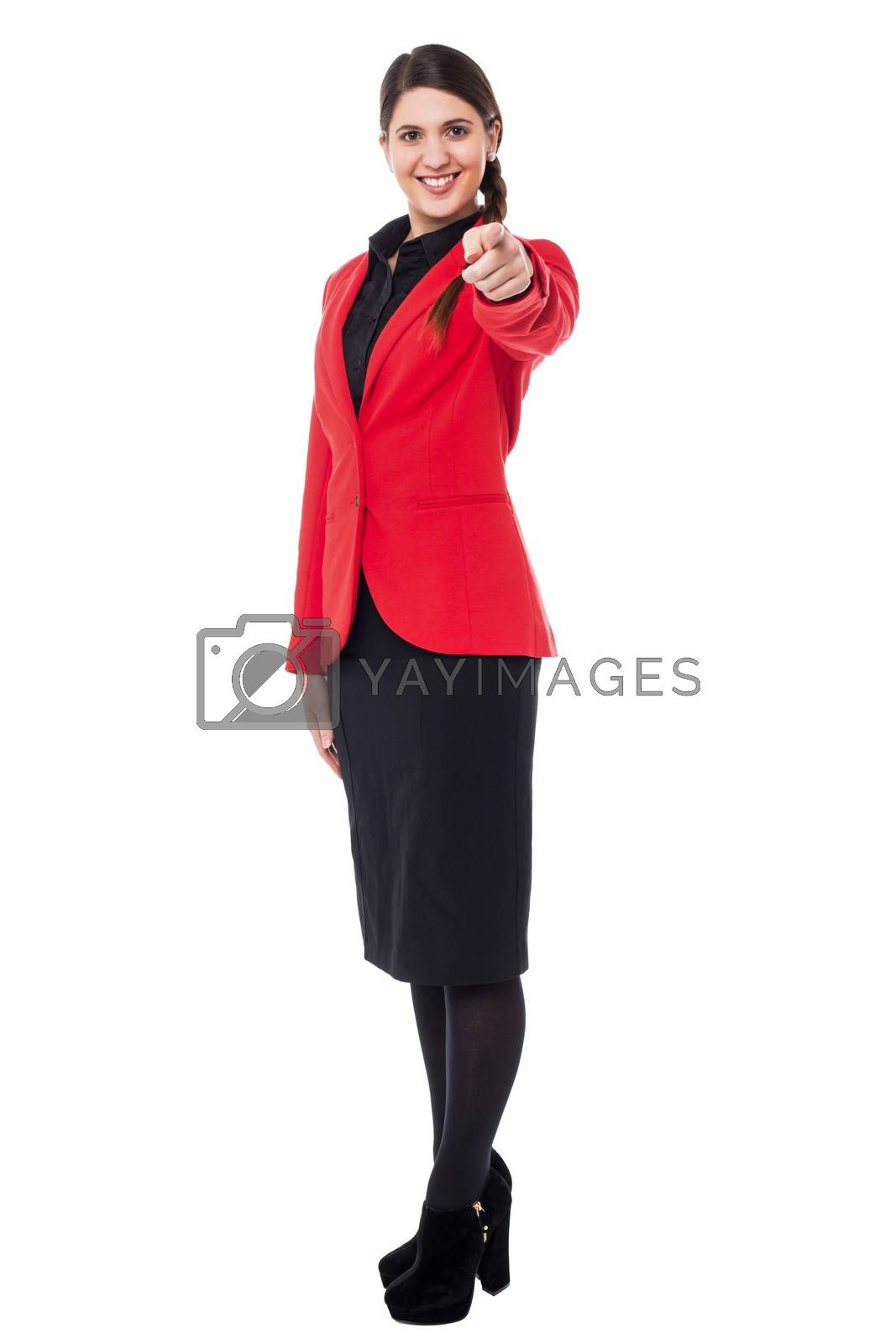 Royalty free image of Elegant presentable businesswoman pointing by stockyimages