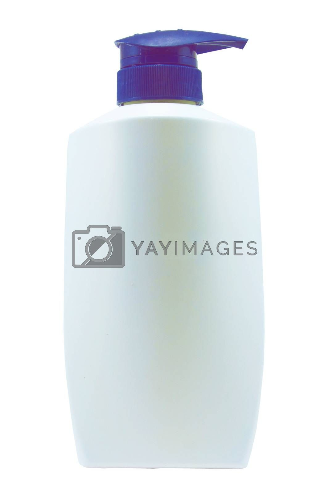 Royalty free image of Plastic Clean White Bottle With blue  Dispenser Pump On White Background by sutipp11