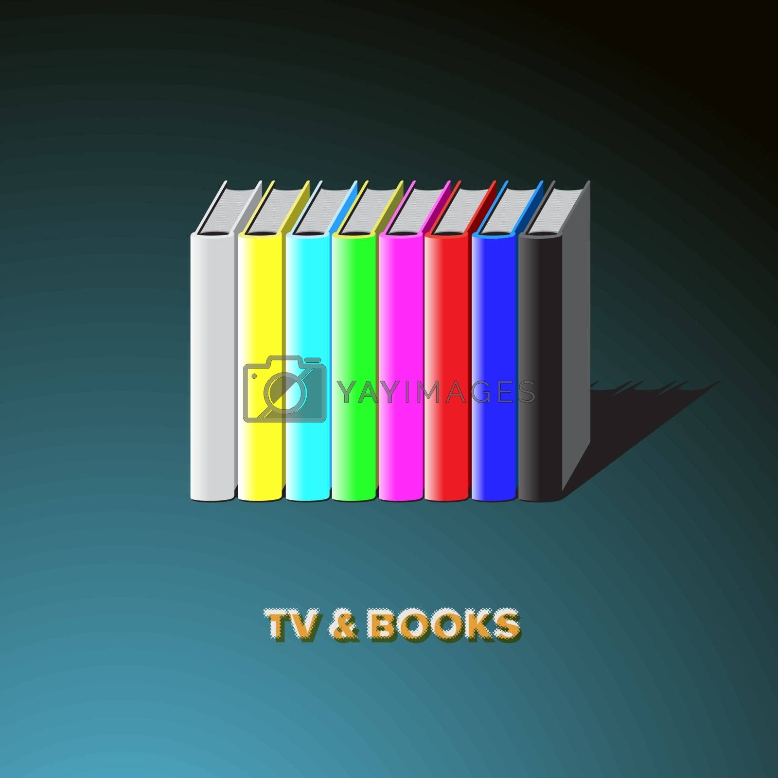 Royalty free image of Row of books made tv-colorful no signal background by ikopylov