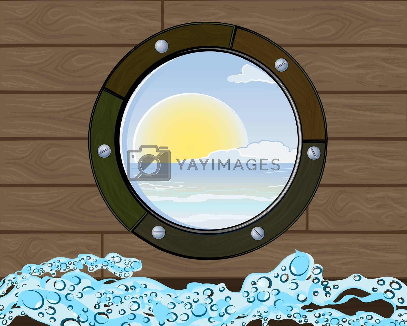 Summer vacation tourism background with sailboat elements