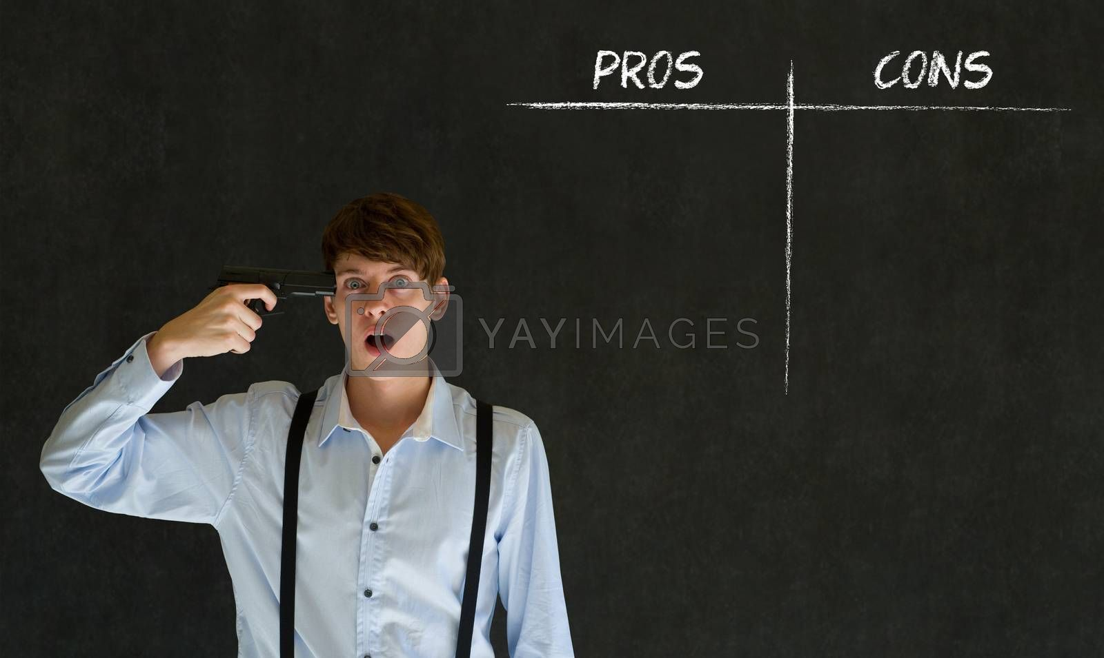 Royalty free image of Businessman, student or teacher pros and cons decision list by alistaircotton