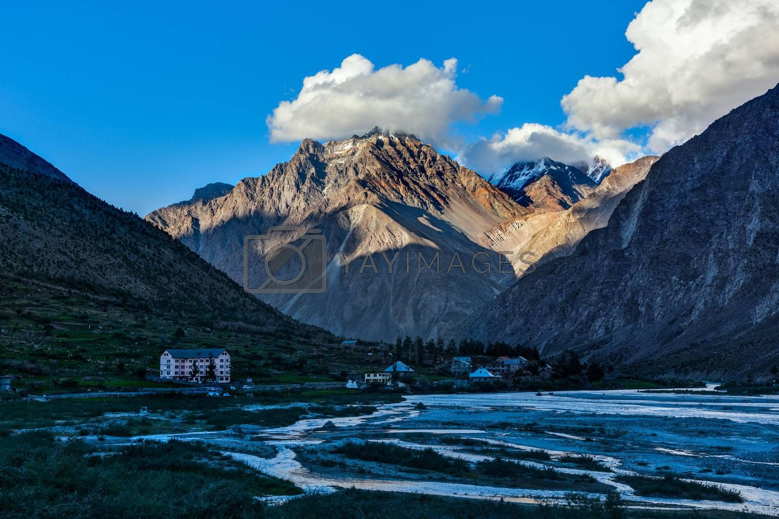 Royalty free image of Lahaul valley in Himalayas on sunset by dimol