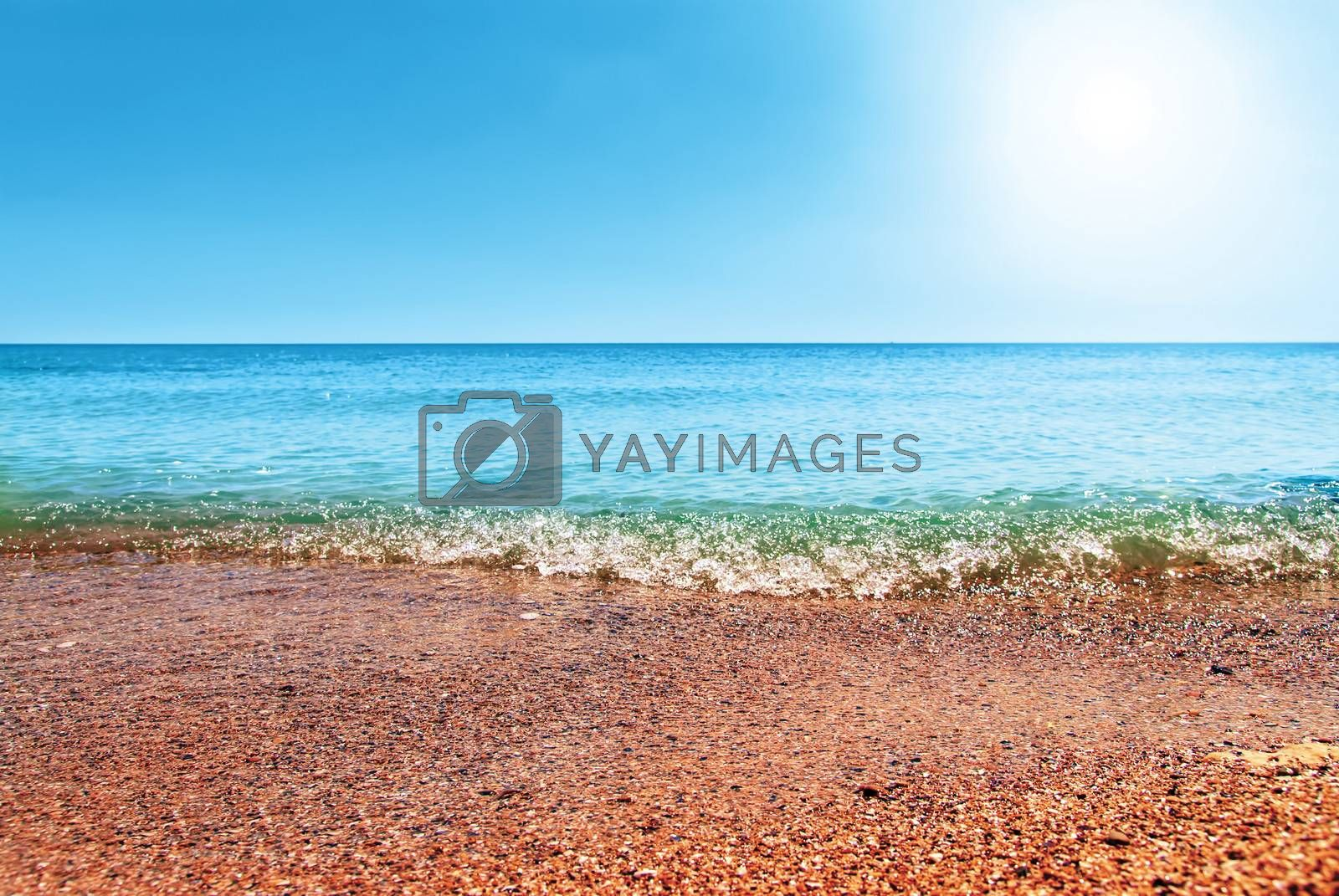 Royalty free image of beautiful blue Caribbean Sea sky and sun by Zhukow