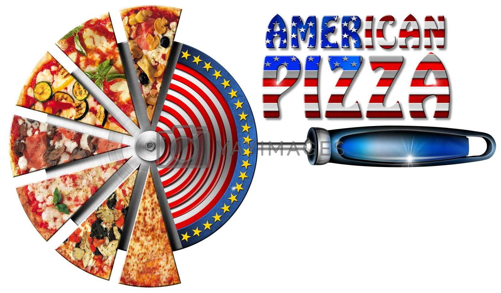 Royalty free image of American Pizza on Cutter for Pizza by catalby