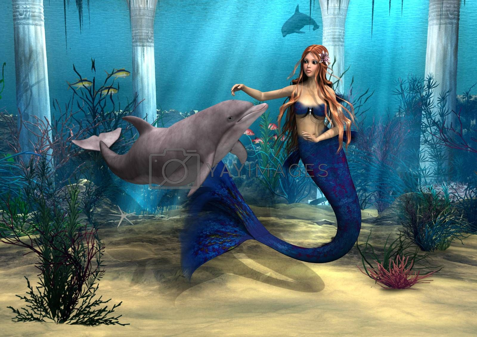 Royalty free image of Mermaid and Dolphin by Vac