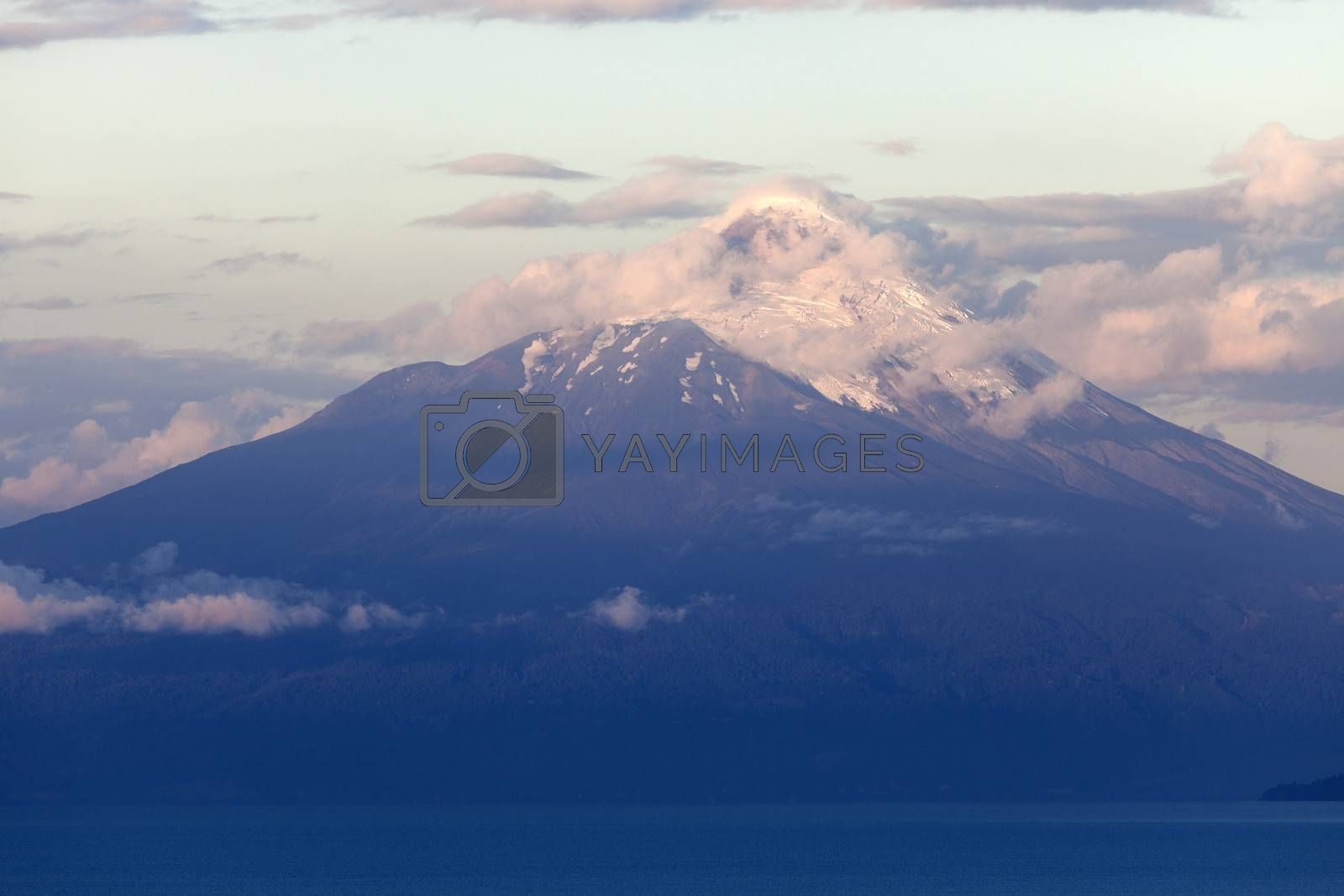 Royalty free image of Osorno Volcano seen during the sunset from Puerto Varas  by benkrut