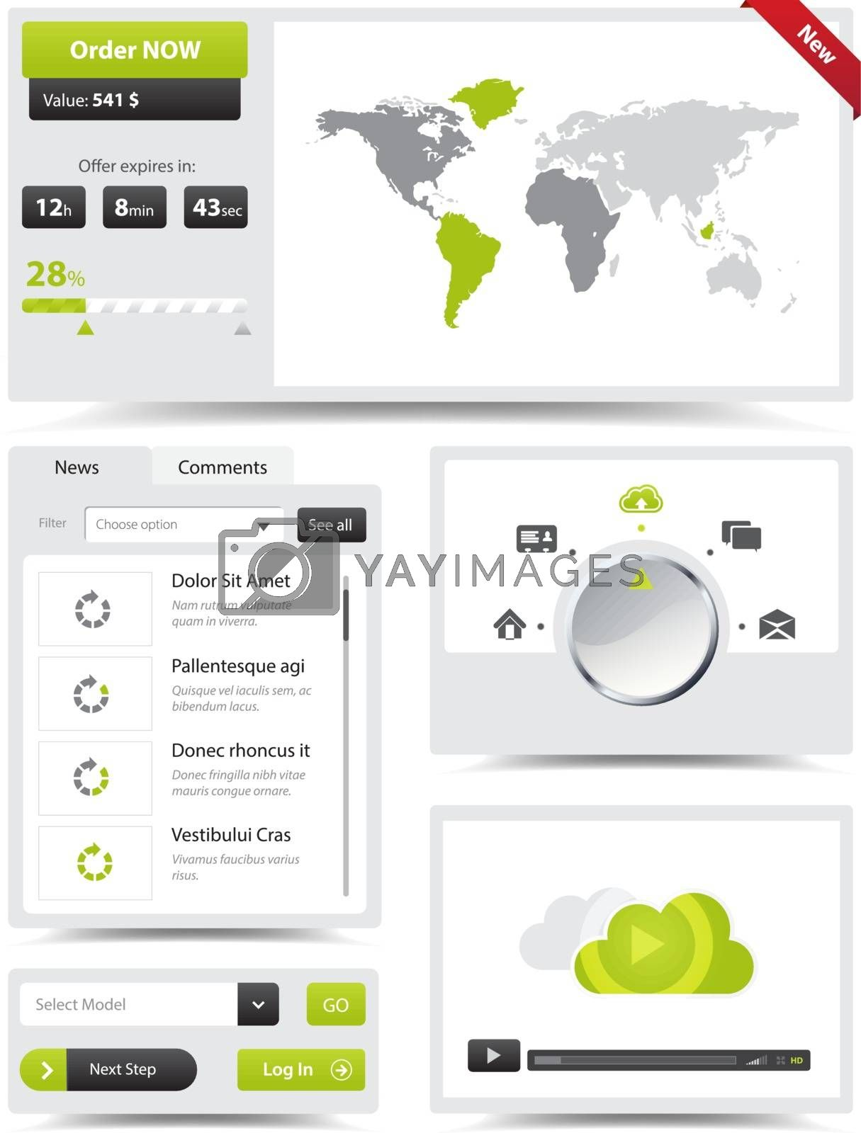 This image is a vector file representing a collection of web design elements.