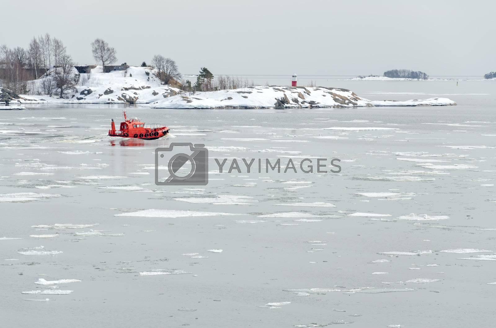 Rescue boat in the Baltic Sea.