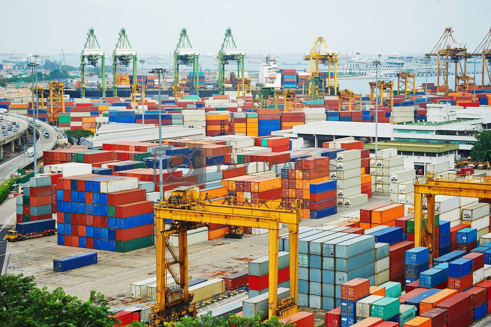 Singapore commercial port . It's the world's busiest port in terms of total shipping tonnage, it transships a fifth of the world shipping containers