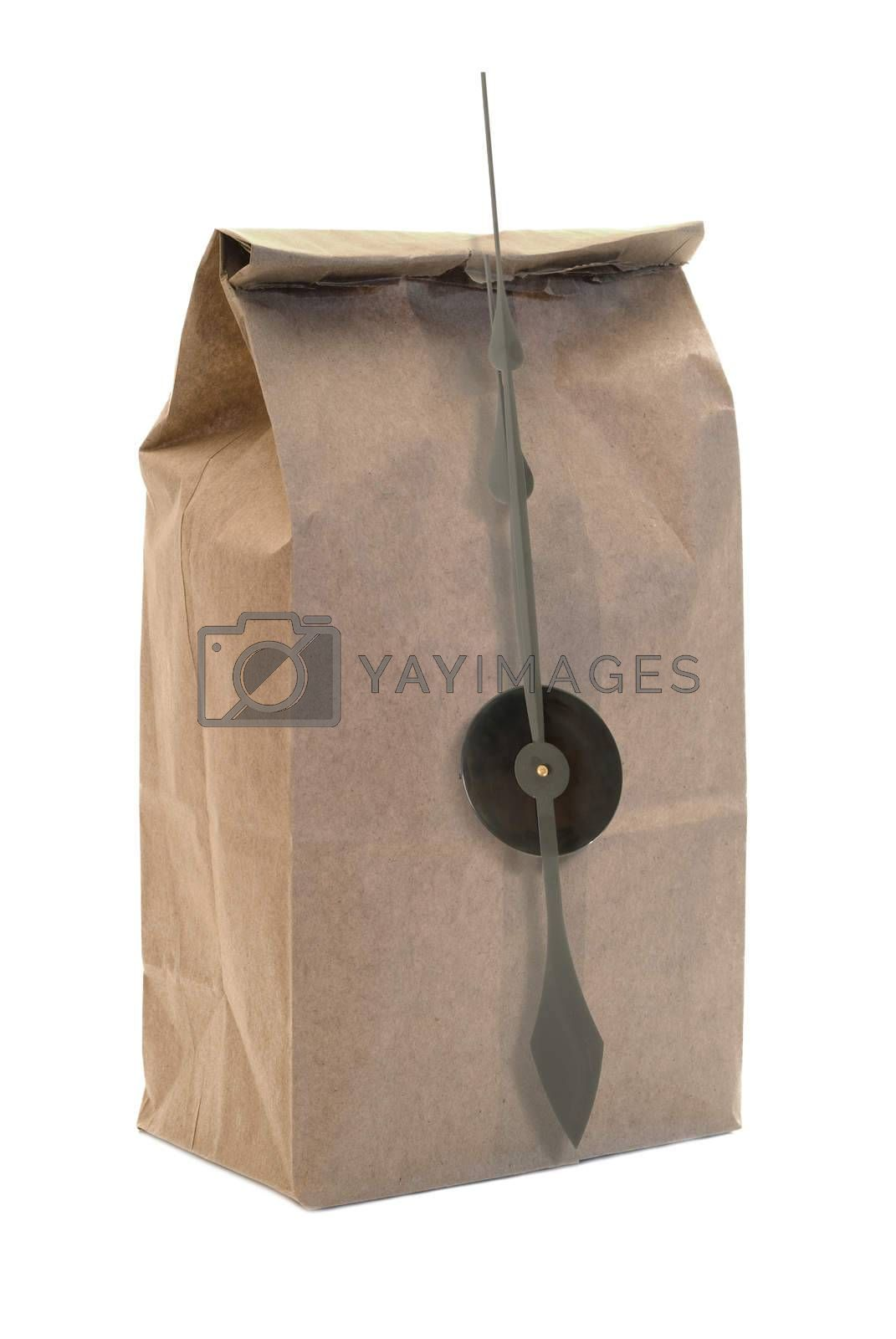 A brown paper bag with clock hands isolated on a white background