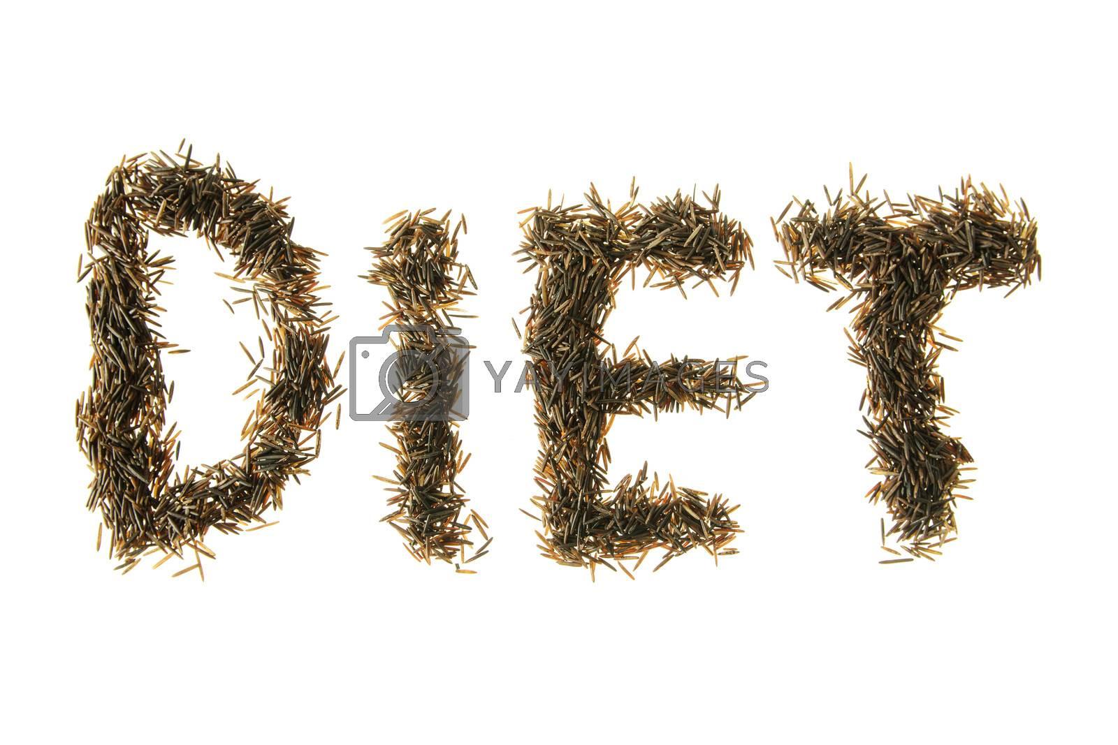 Wild rice grains made to spell diet