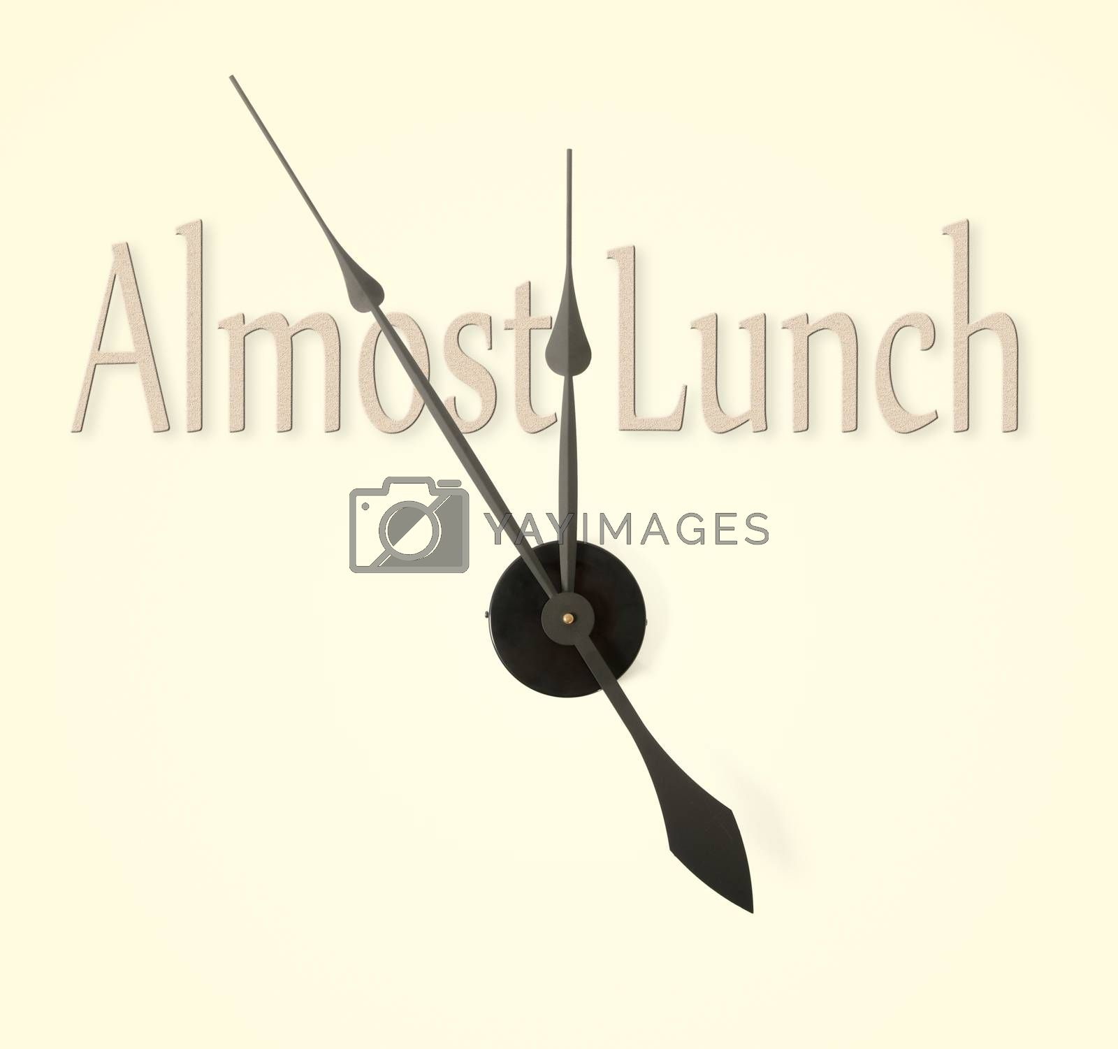 Clock hands pointing to almost lunch