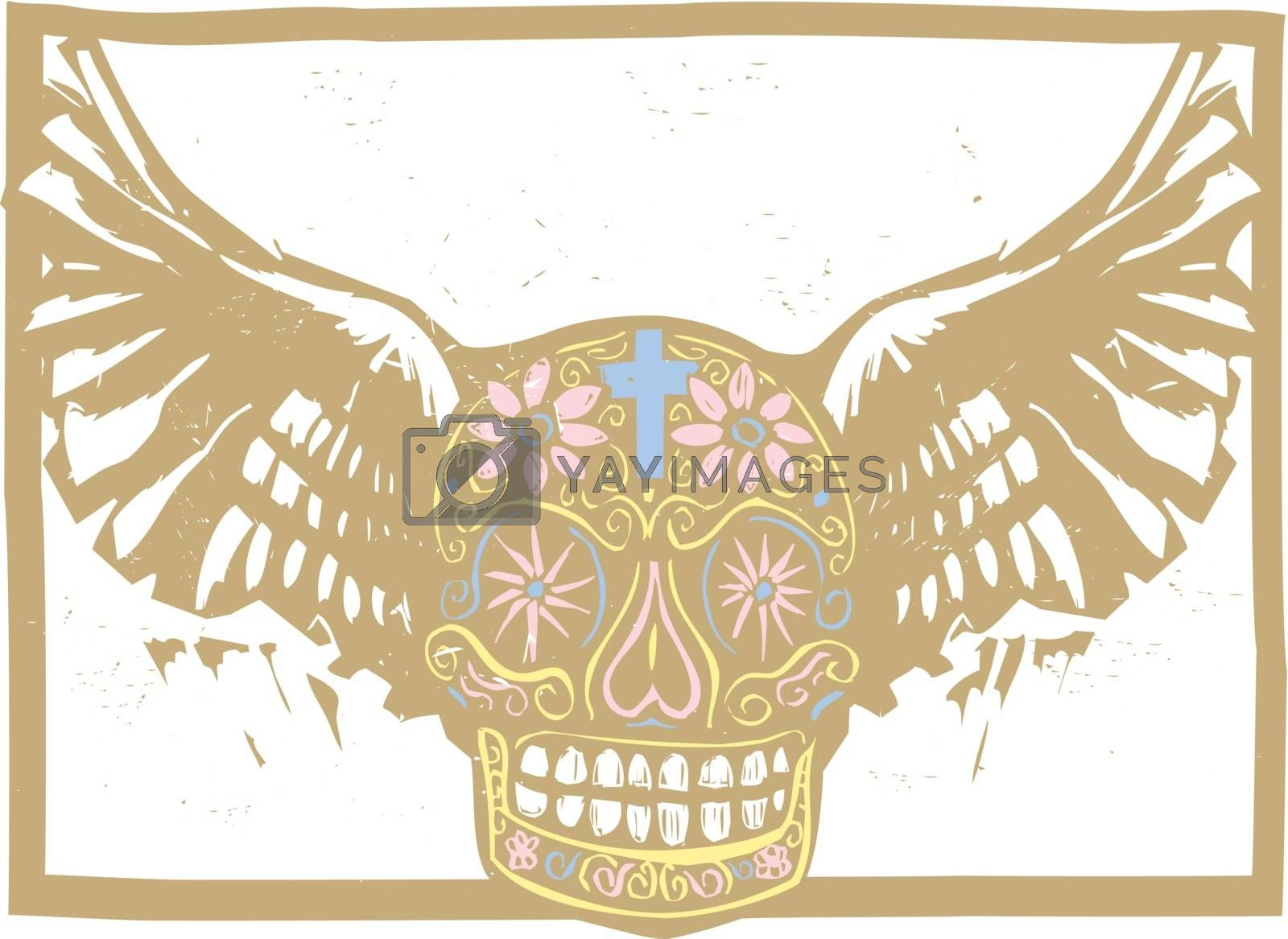 Color Mexican Winged Skull by Xochicalco