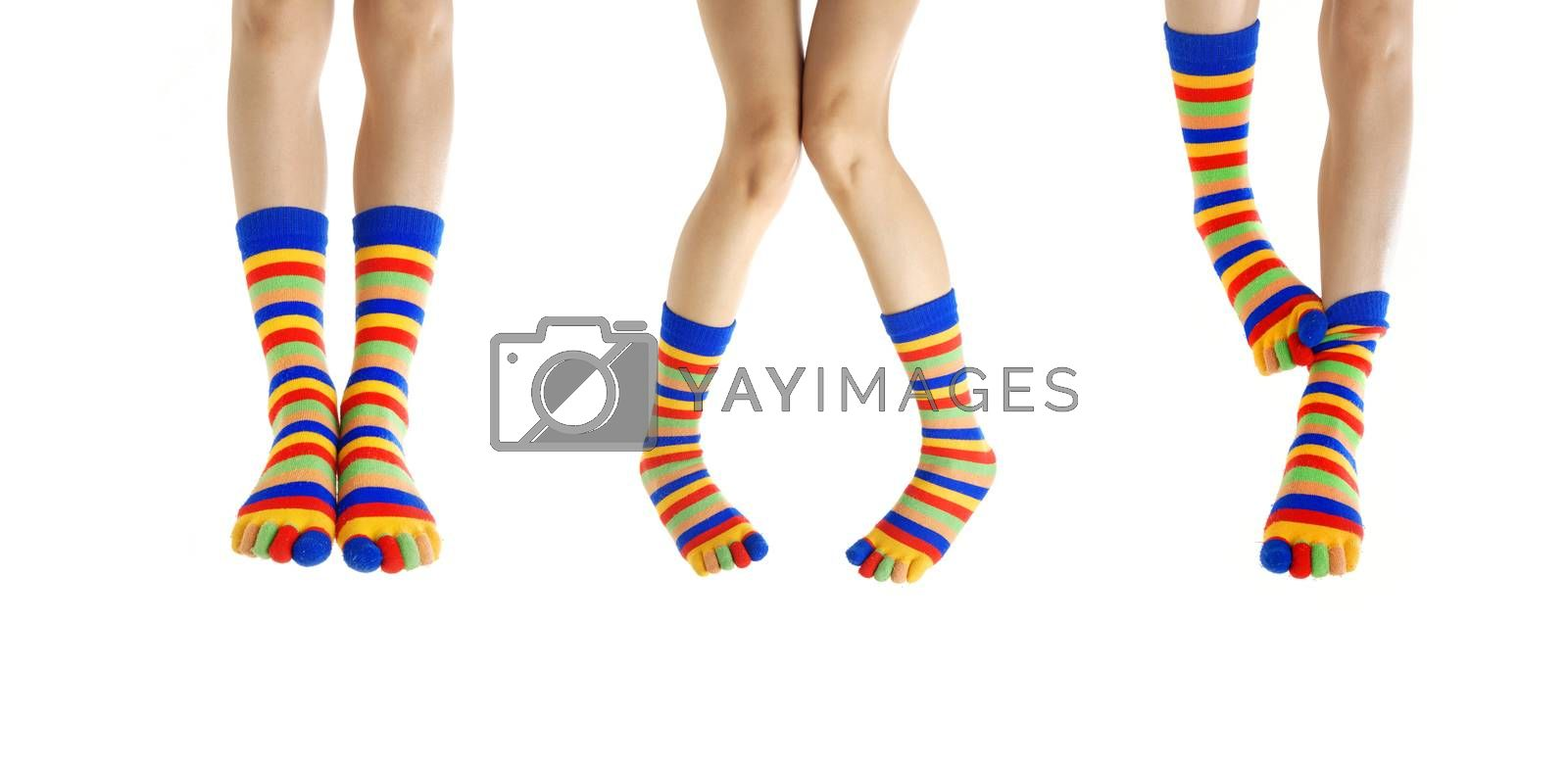 Three couples of woman legs in stripped socks