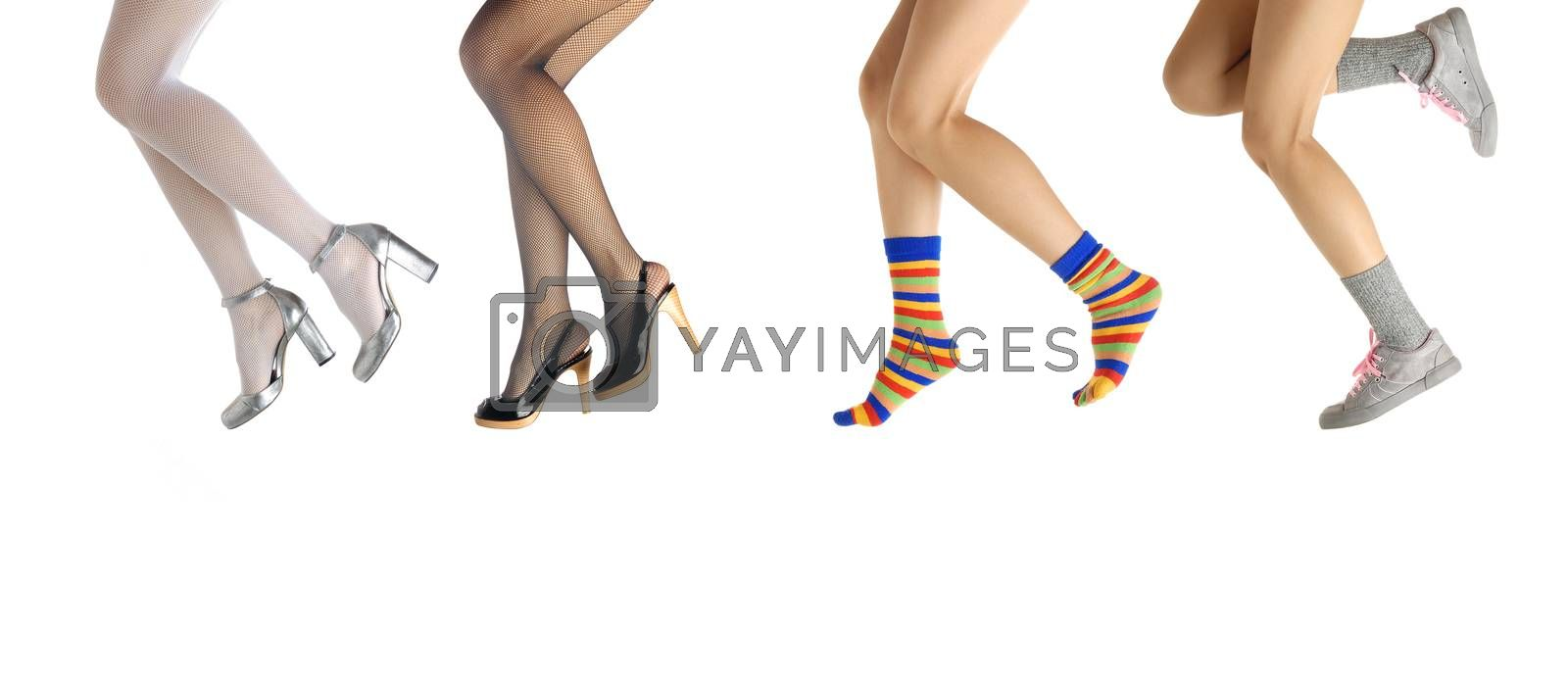 Photo of the elegant woman legs in the various clothes