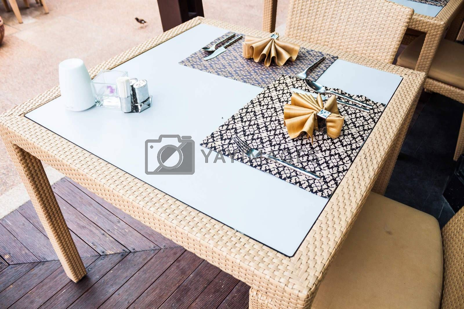 Opened air of oriental style dining table