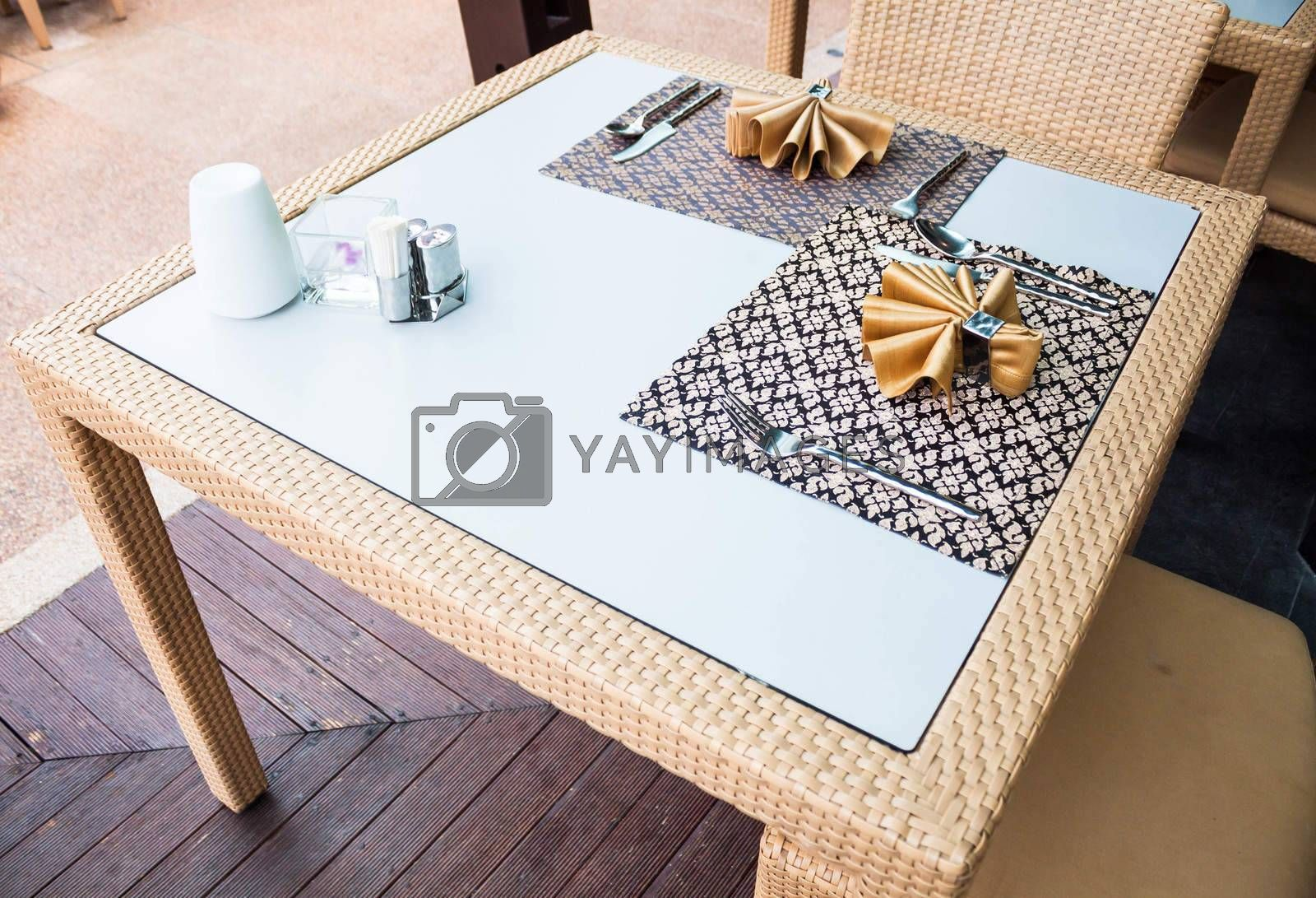 Set of oriental style dining table on wood floor