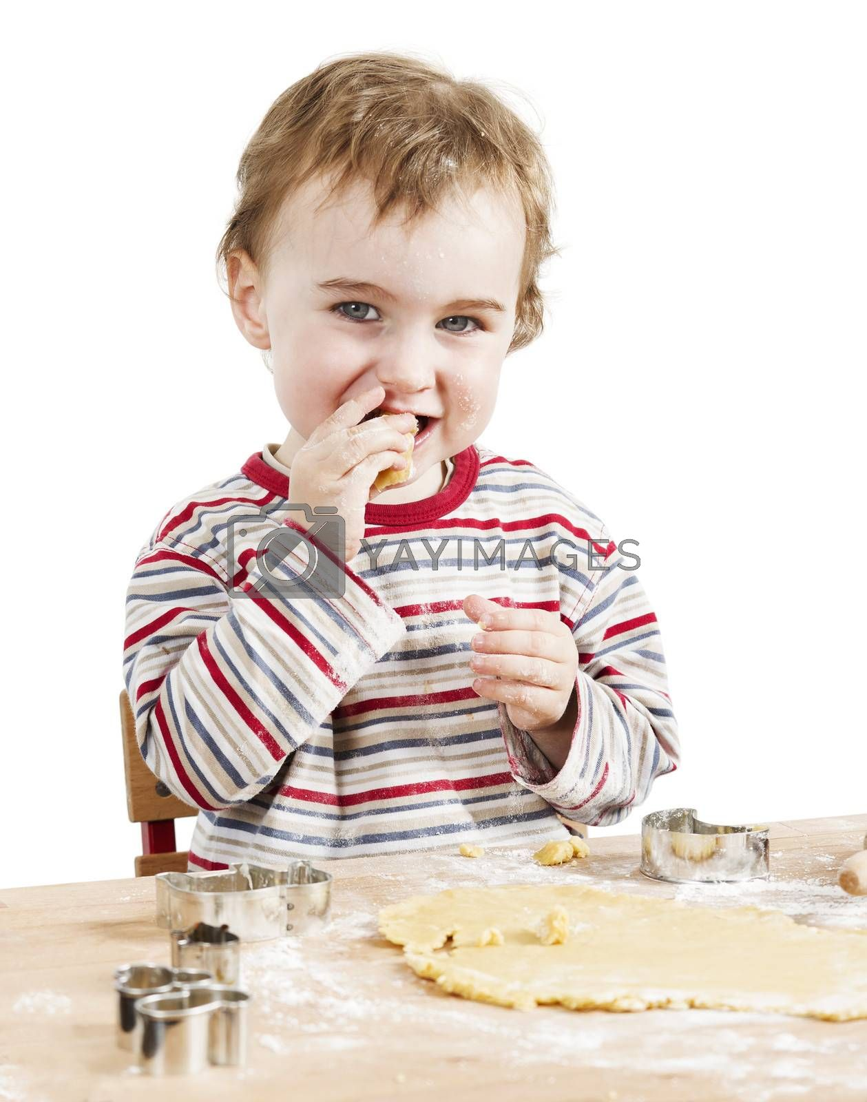 cute child with dough isolated on white background. horizontal image
