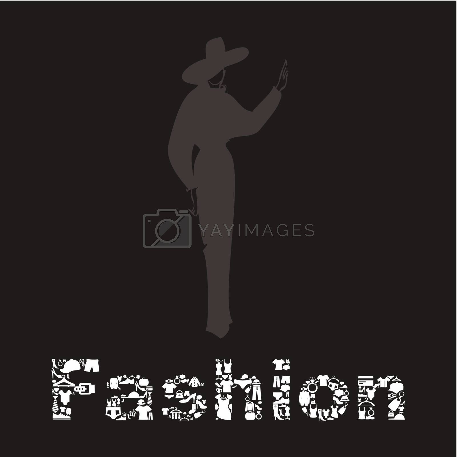 The fashionable woman and word a fashion. A vector illustration