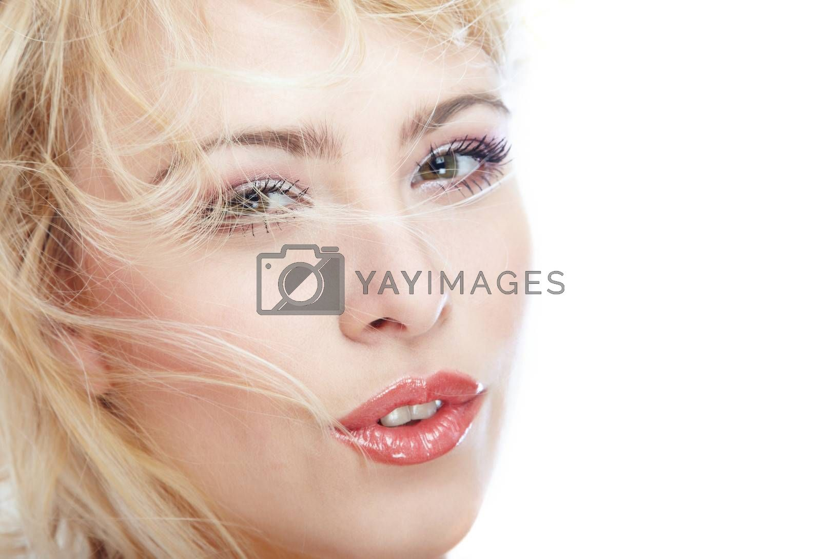Close-up portrait of the blond lady with perfect makeup