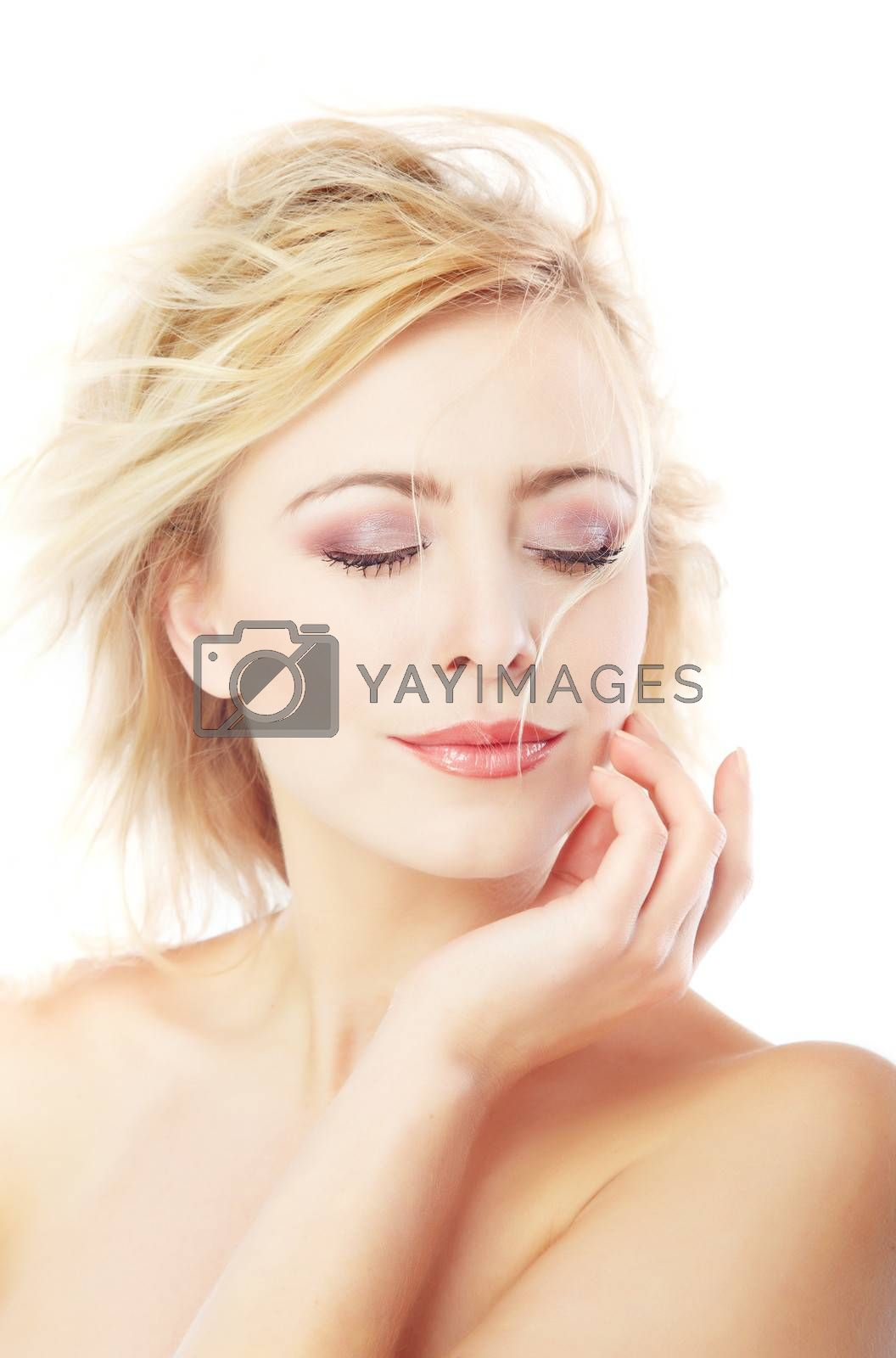 Beautiful lady with perfect skin on a white background