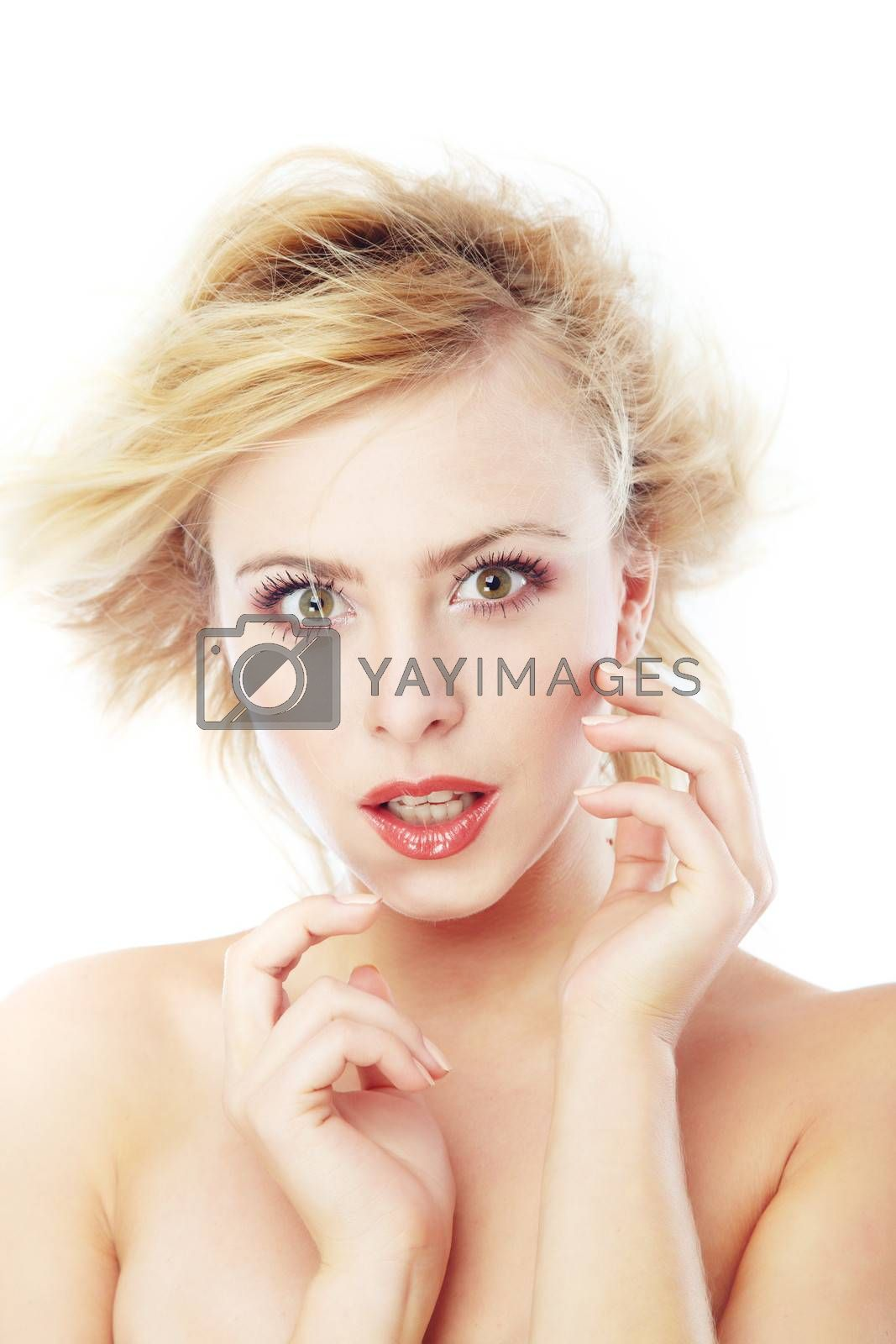 Beautiful blond lady with perfect makeup on a white background