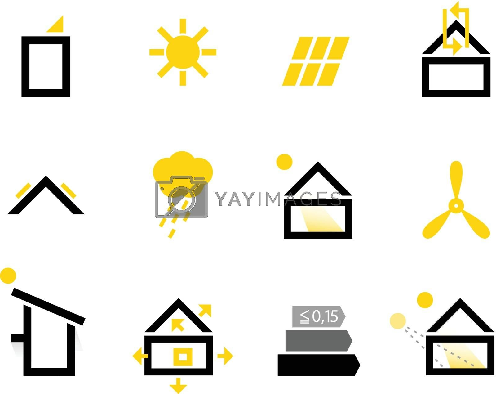 Energy efficient houses icons set. Vector Illustration