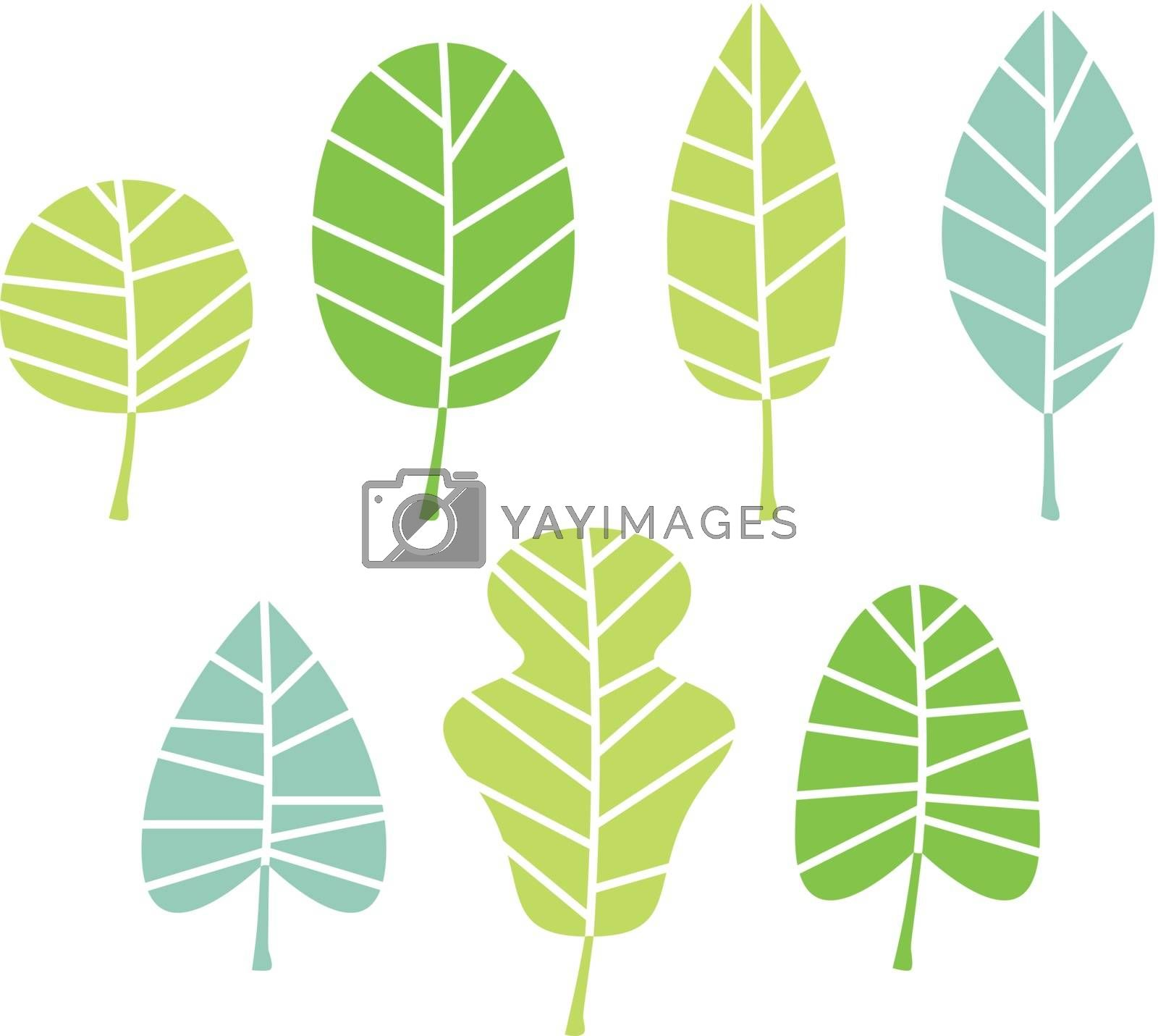 Abstract patterned leaves set. Vector Illustration